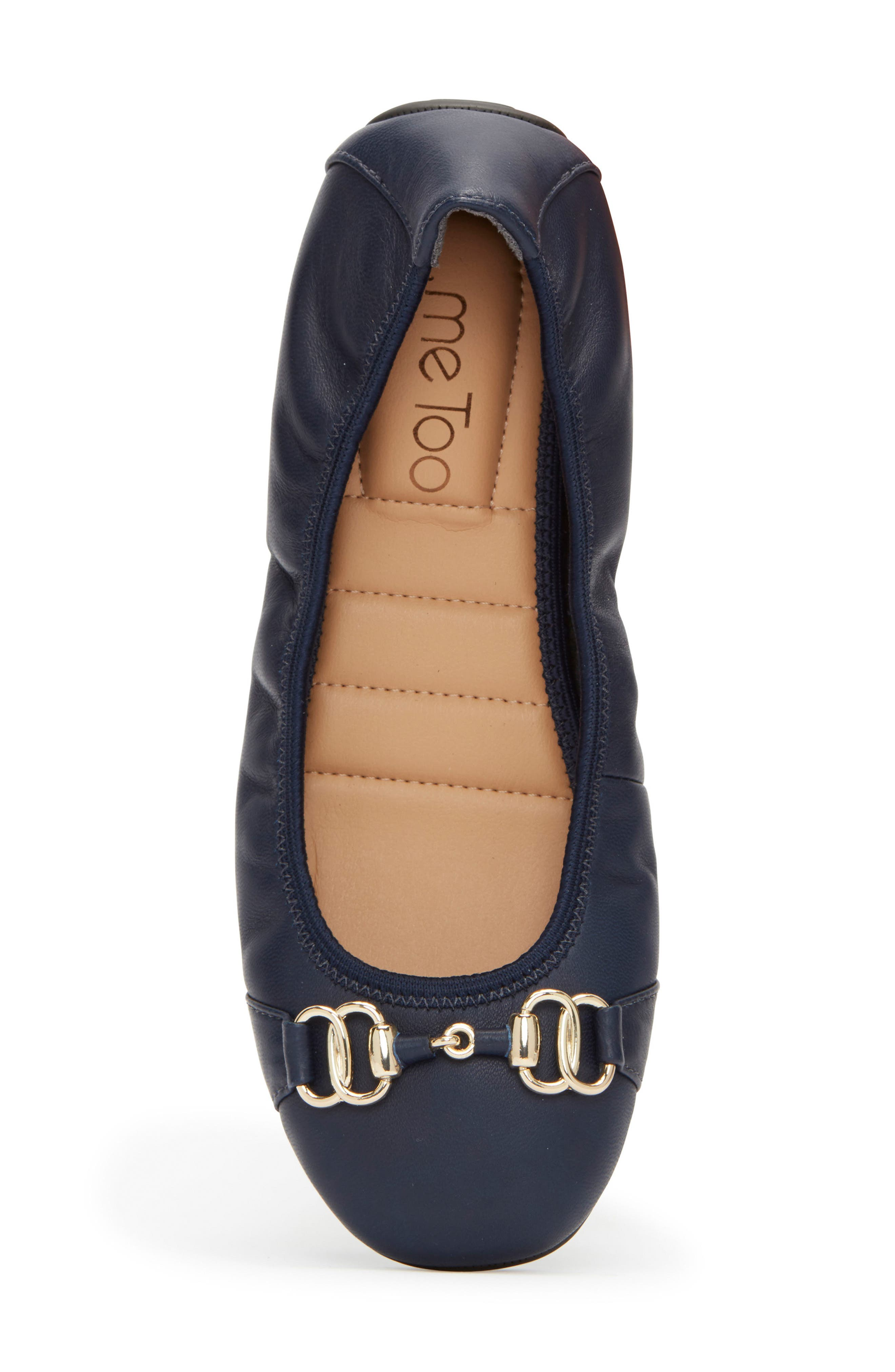 Olympia Skimmer Flat,                             Alternate thumbnail 5, color,                             Navy Leather