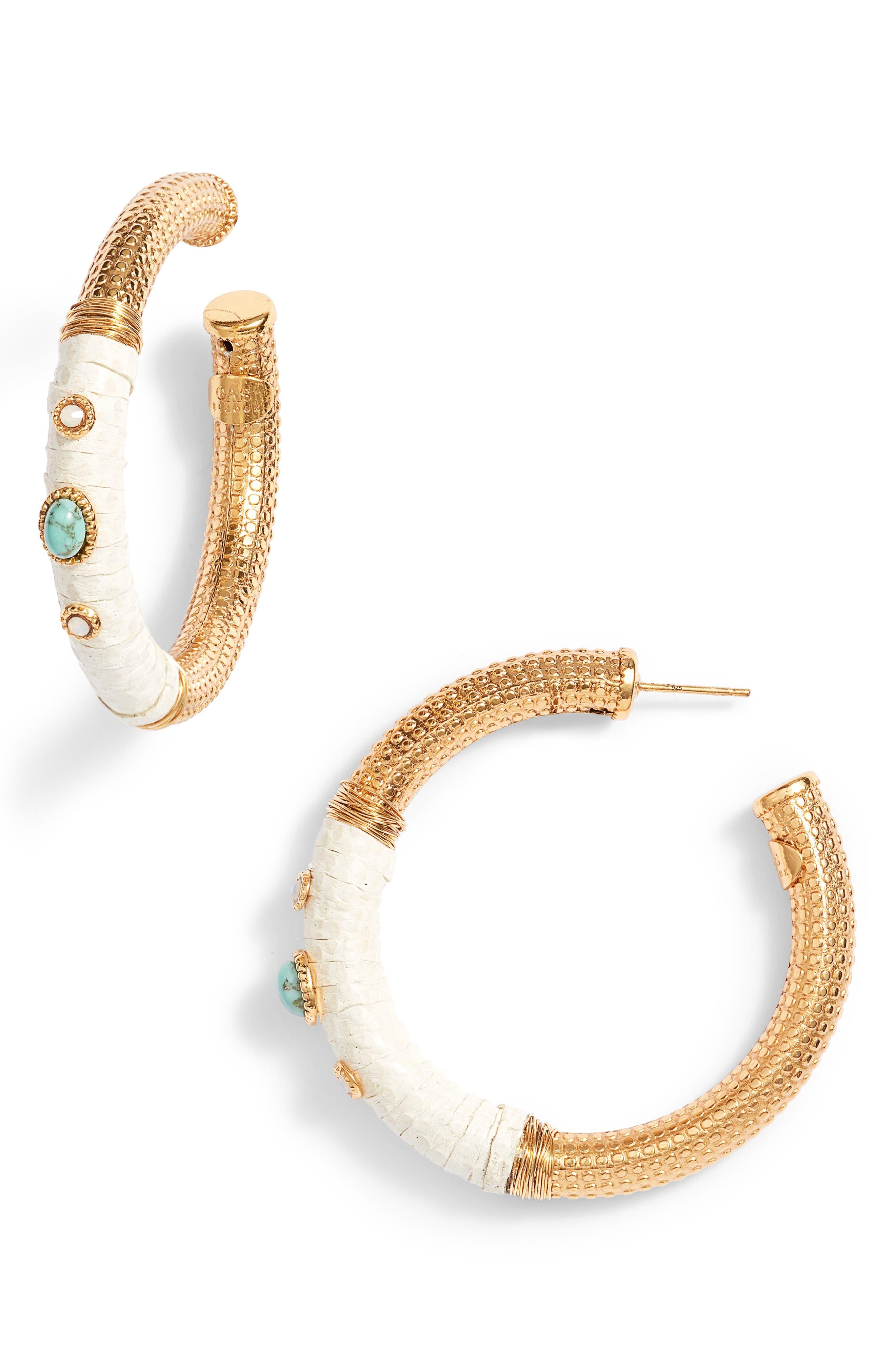 Hoop Earrings,                         Main,                         color, White