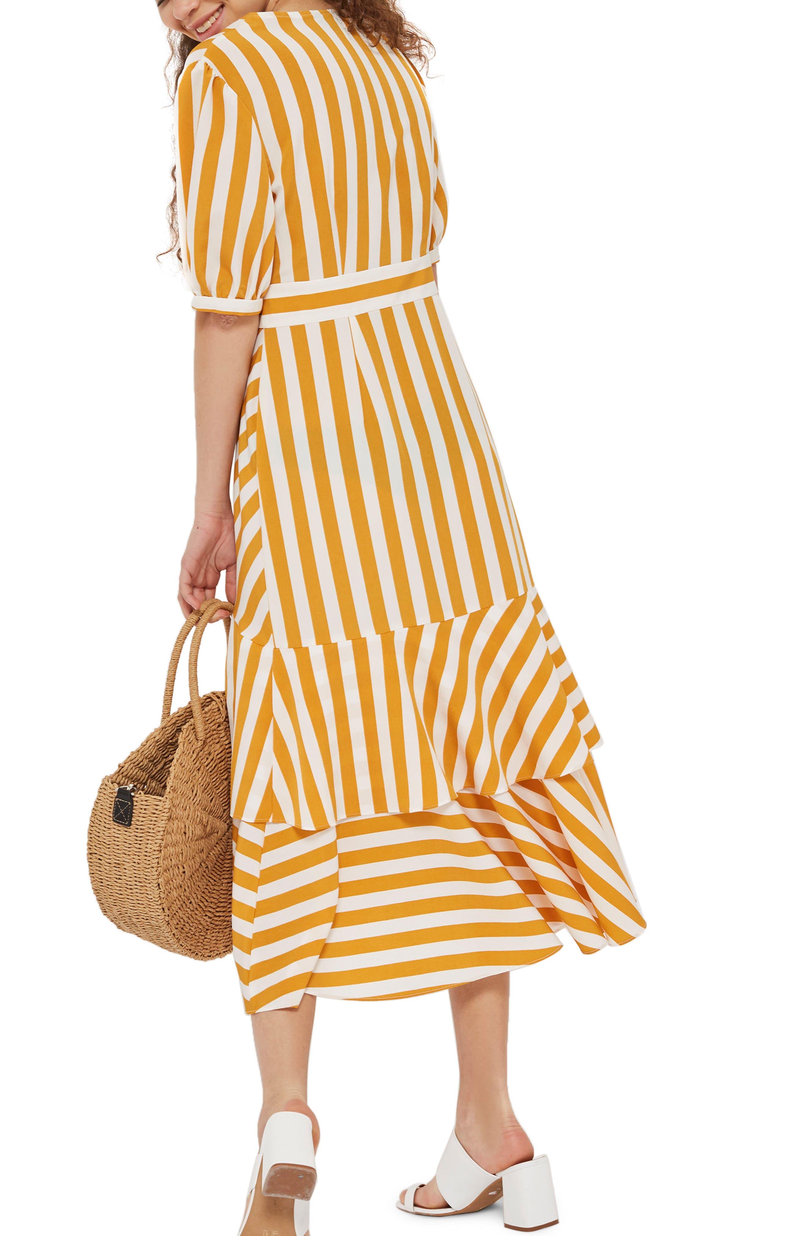 Cutabout Stripe Ruffle Midi Dress,                             Alternate thumbnail 3, color,                             Yellow Multi