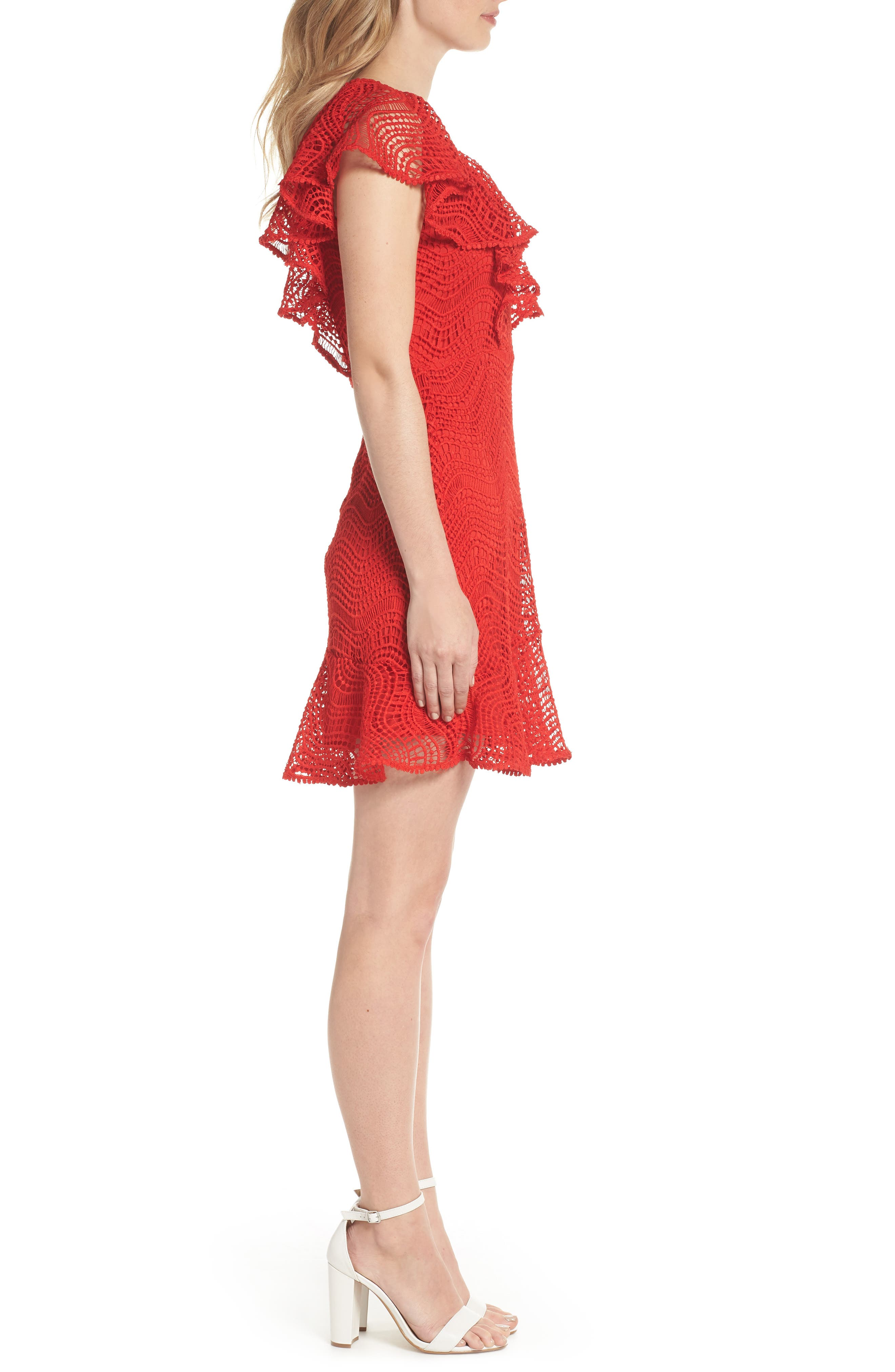 Ruffle Sleeve Lace Fit & Flare Dress,                             Alternate thumbnail 3, color,                             Red Blaze