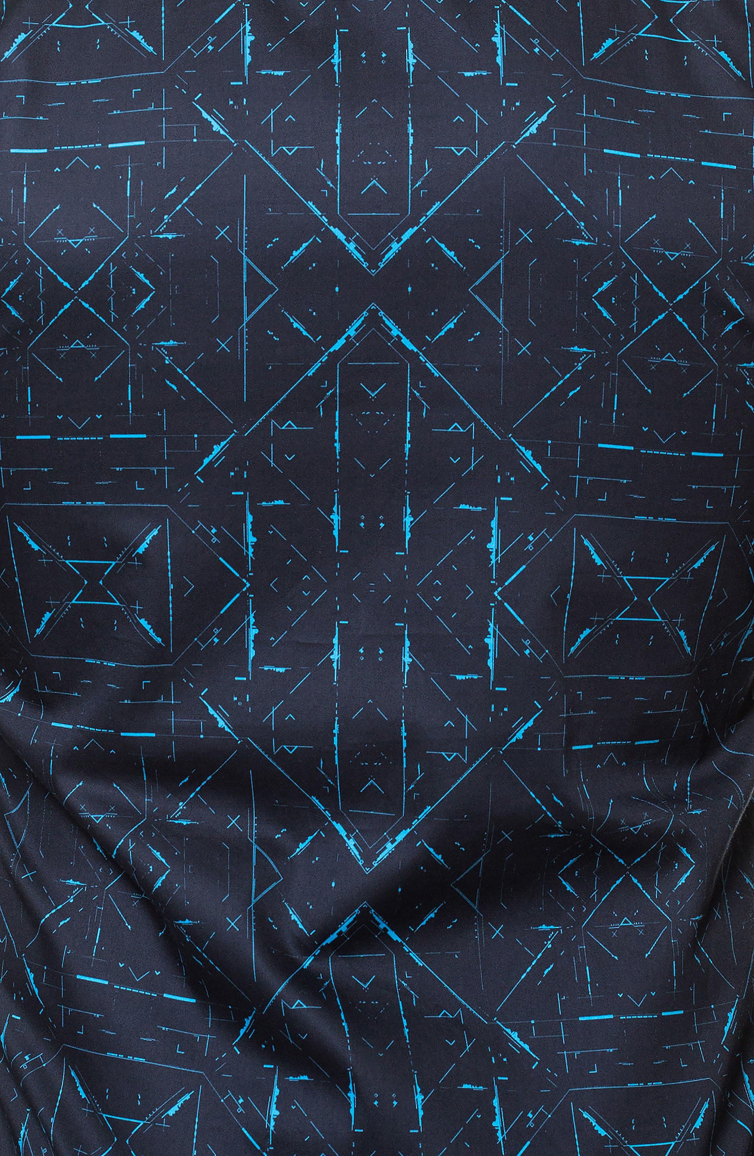 Luxor Sketch Black Slim Fit Sport Shirt,                             Alternate thumbnail 4, color,                             Black