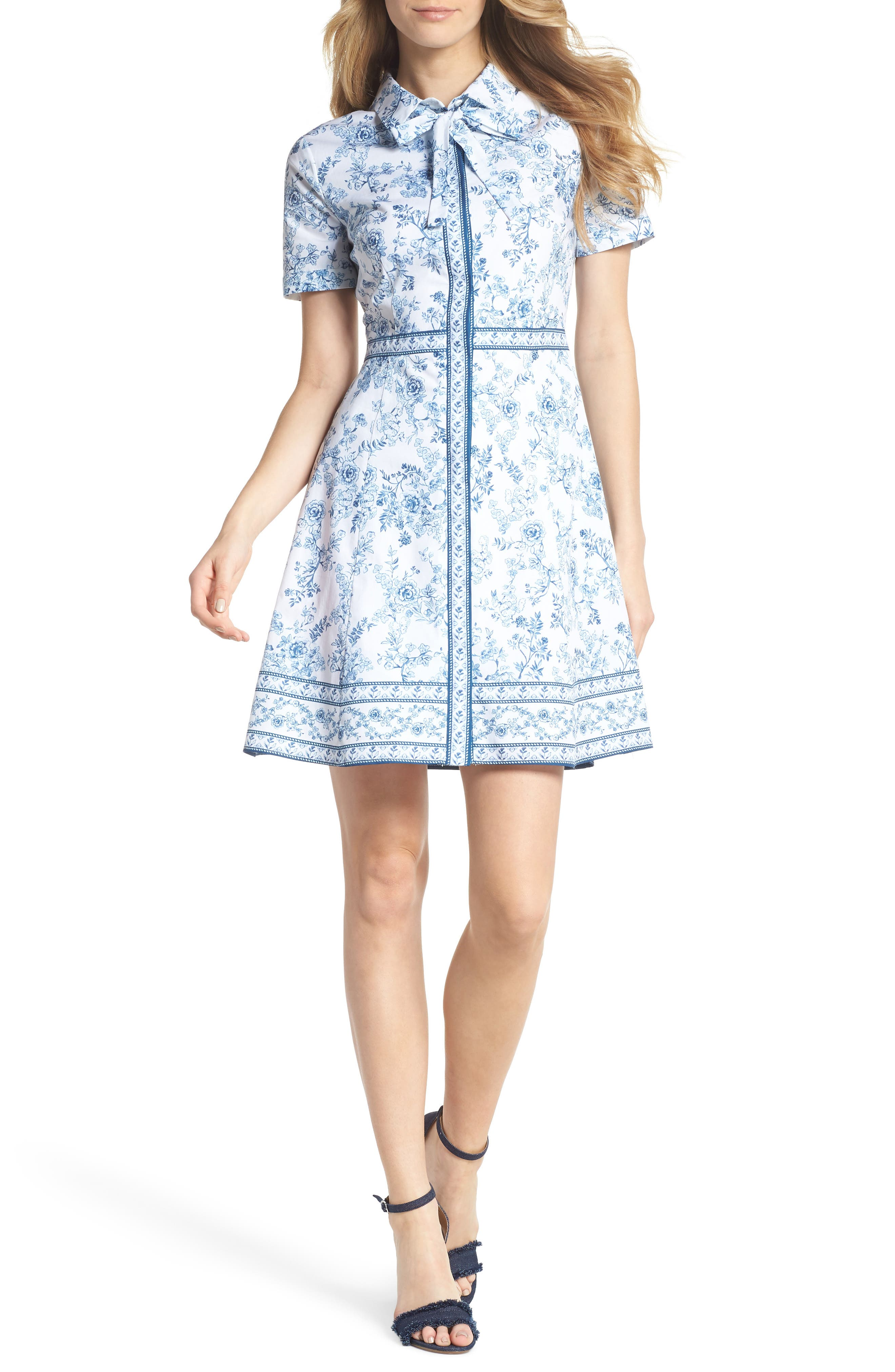 Darla Cotton Toile Shirtdress,                             Main thumbnail 1, color,                             Cloud/ Cornflower