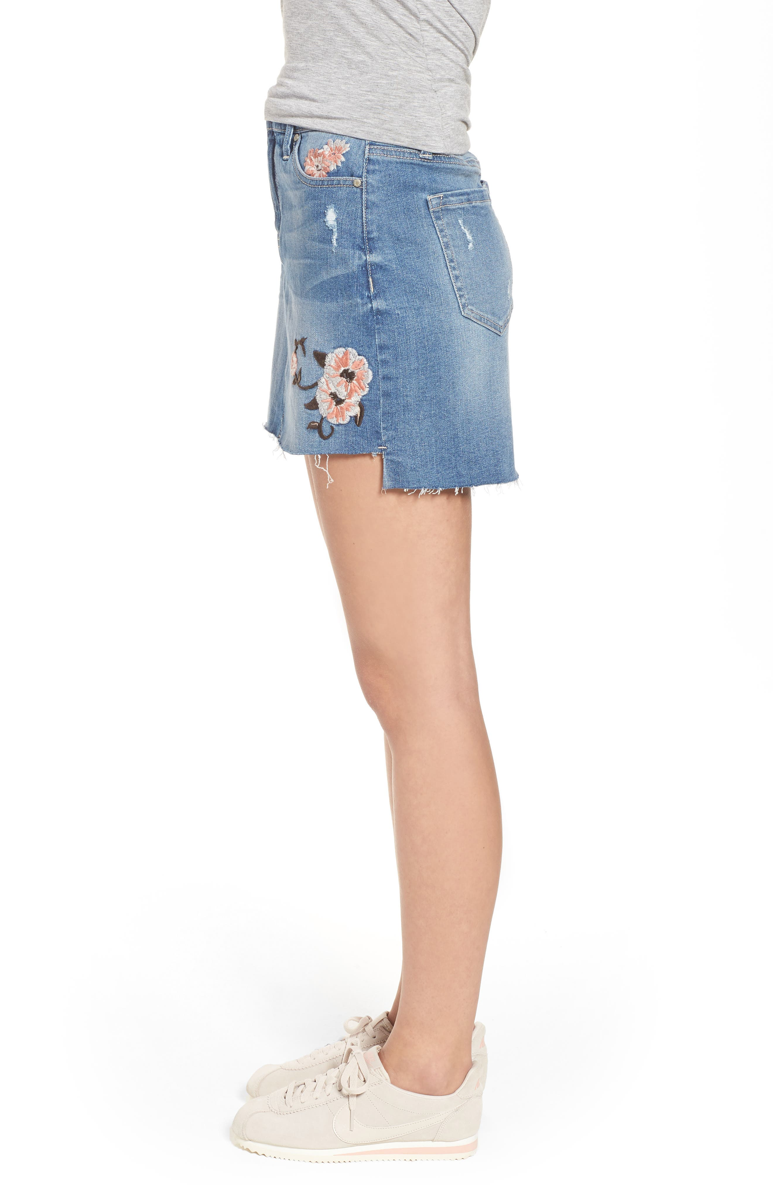 Embroidered Step Hem Denim Skirt,                             Alternate thumbnail 3, color,                             Light Wash