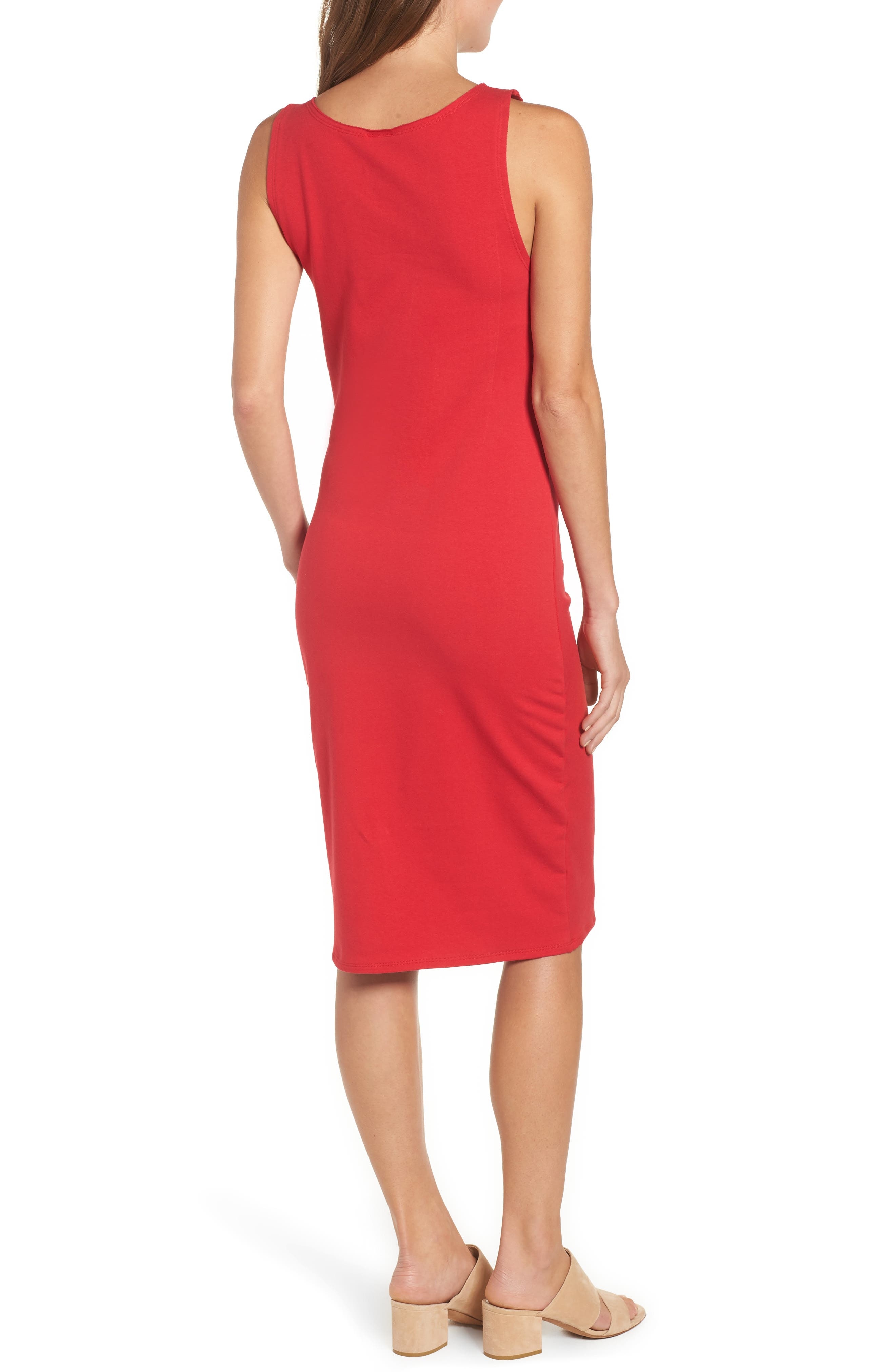 French Terry Ruffle Front Dress,                             Alternate thumbnail 2, color,                             Red Tomato