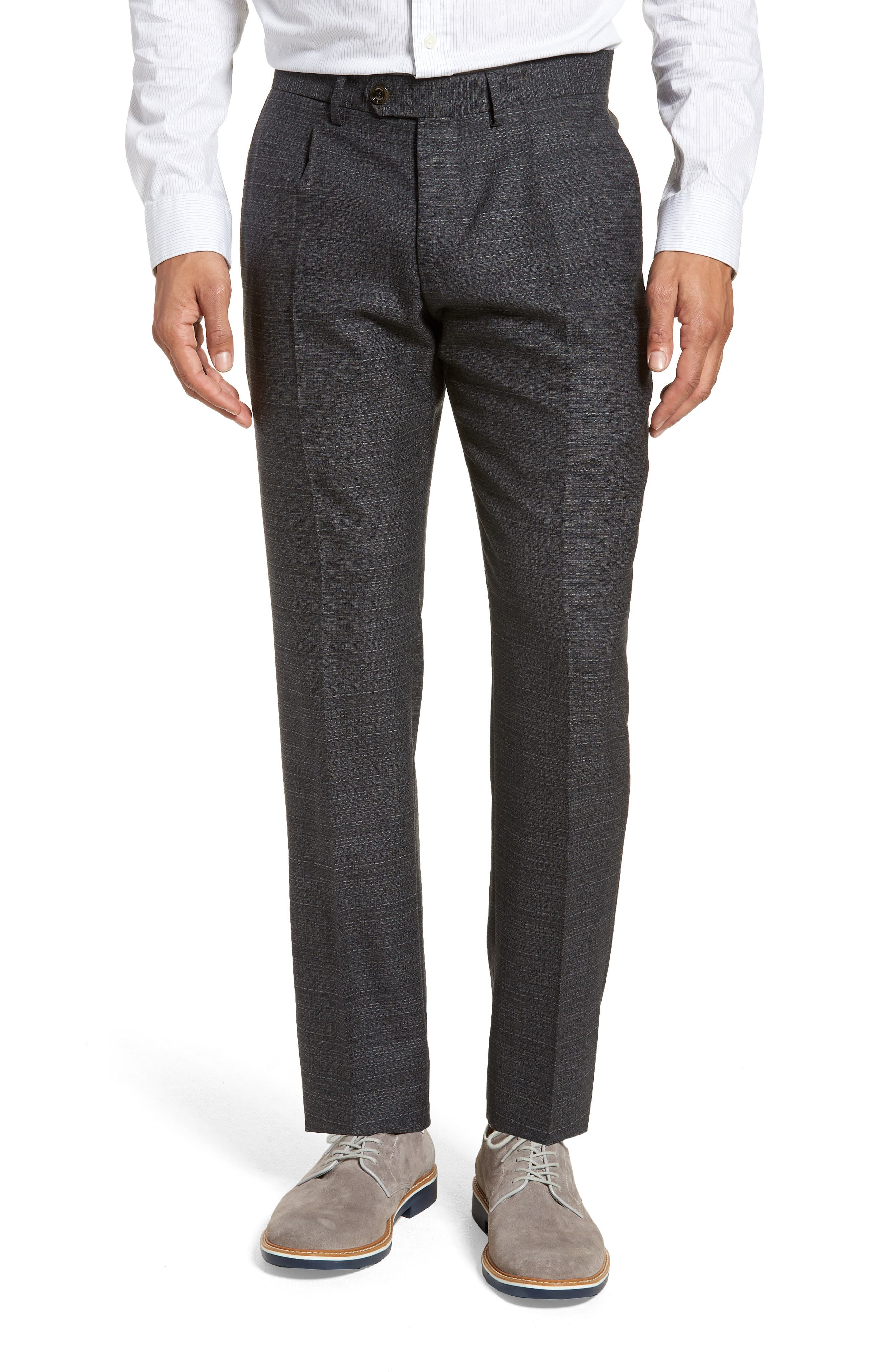 Pleated Solid Wool Trousers,                             Main thumbnail 1, color,                             Medium Grey