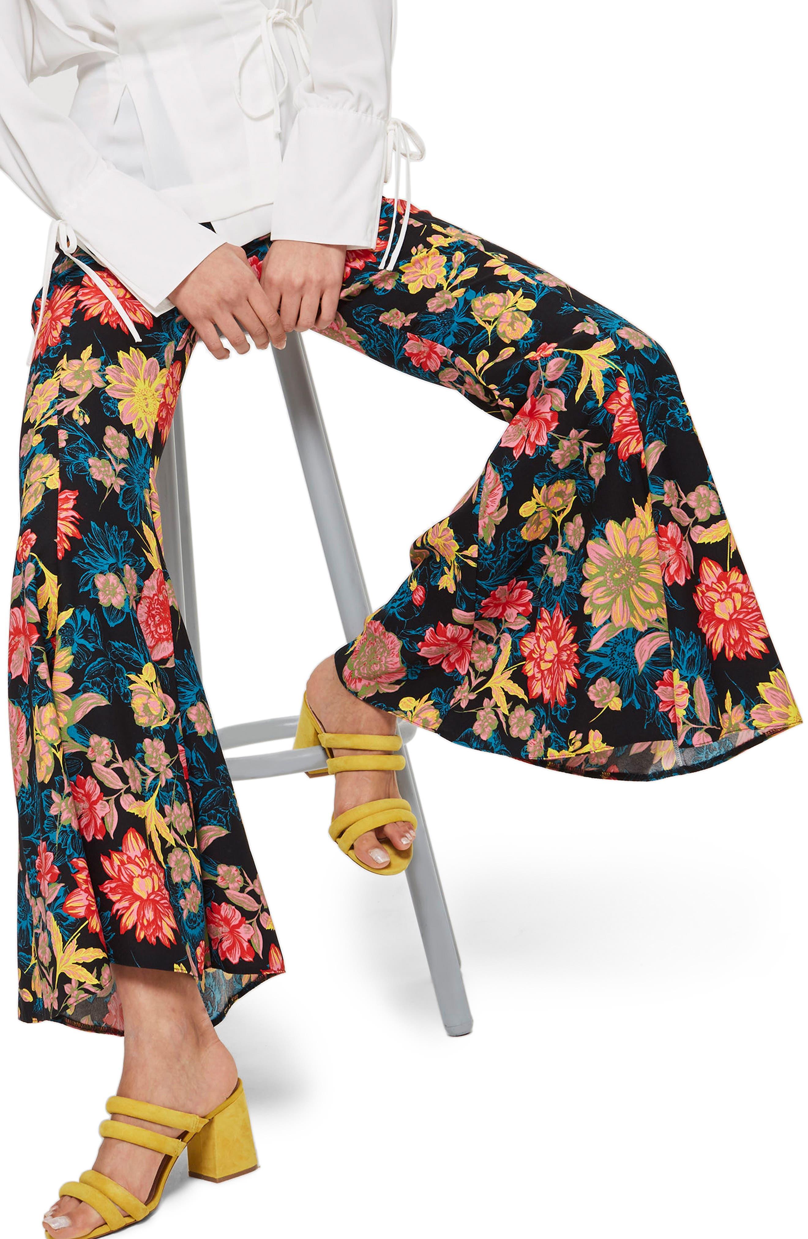 Alpha Floral Super Flare Trousers,                             Main thumbnail 1, color,                             Blue Multi