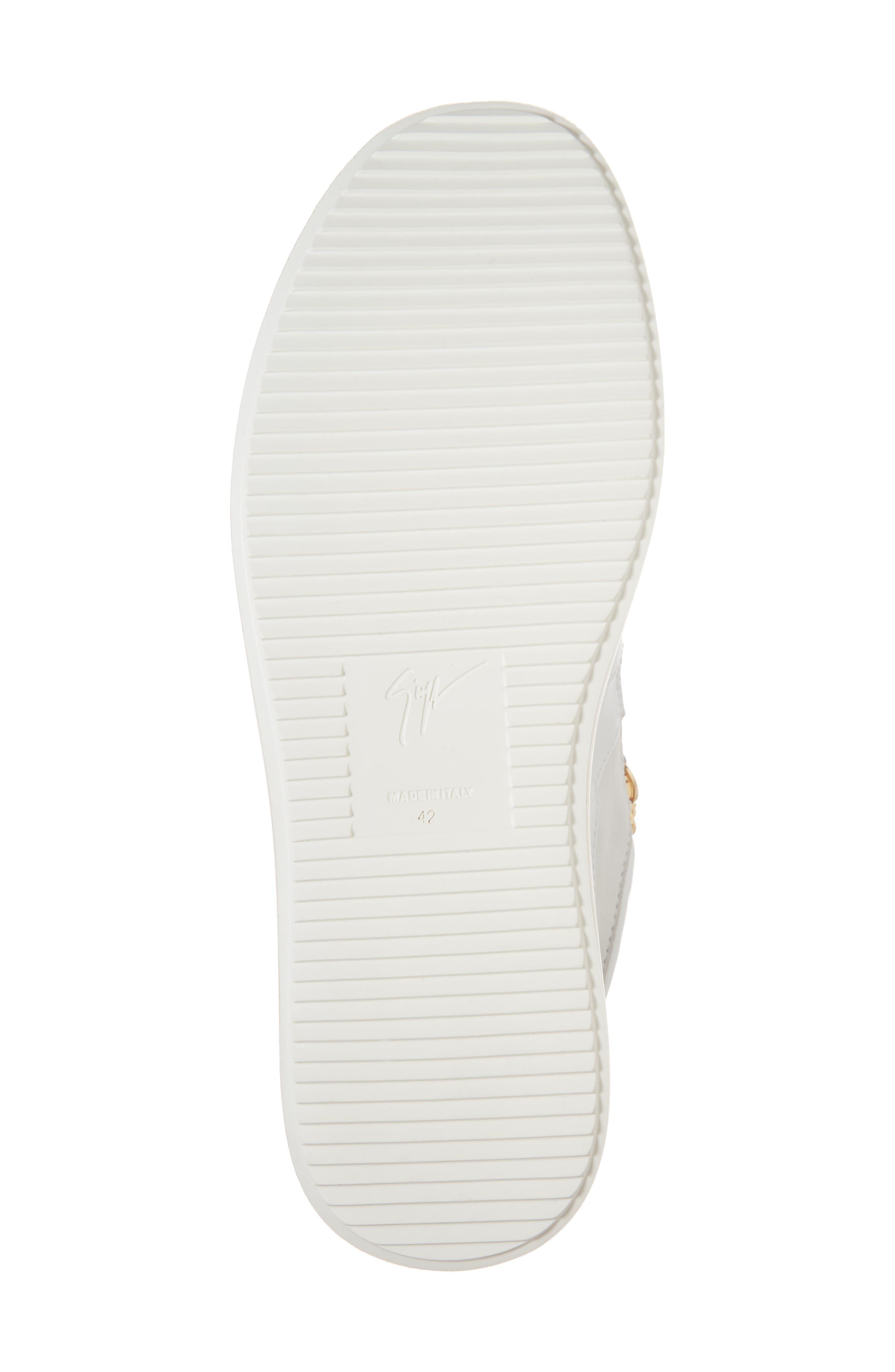 Double Zip Trainer Sneaker,                             Alternate thumbnail 6, color,                             Bianco