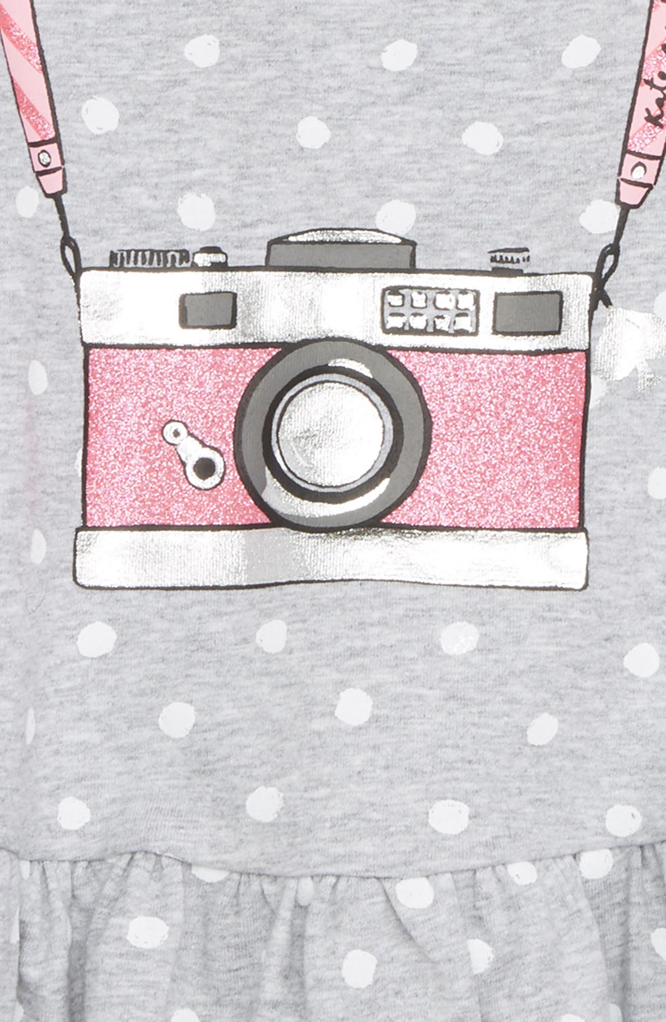 camera polka dot dress,                             Alternate thumbnail 2, color,                             Heather Grey