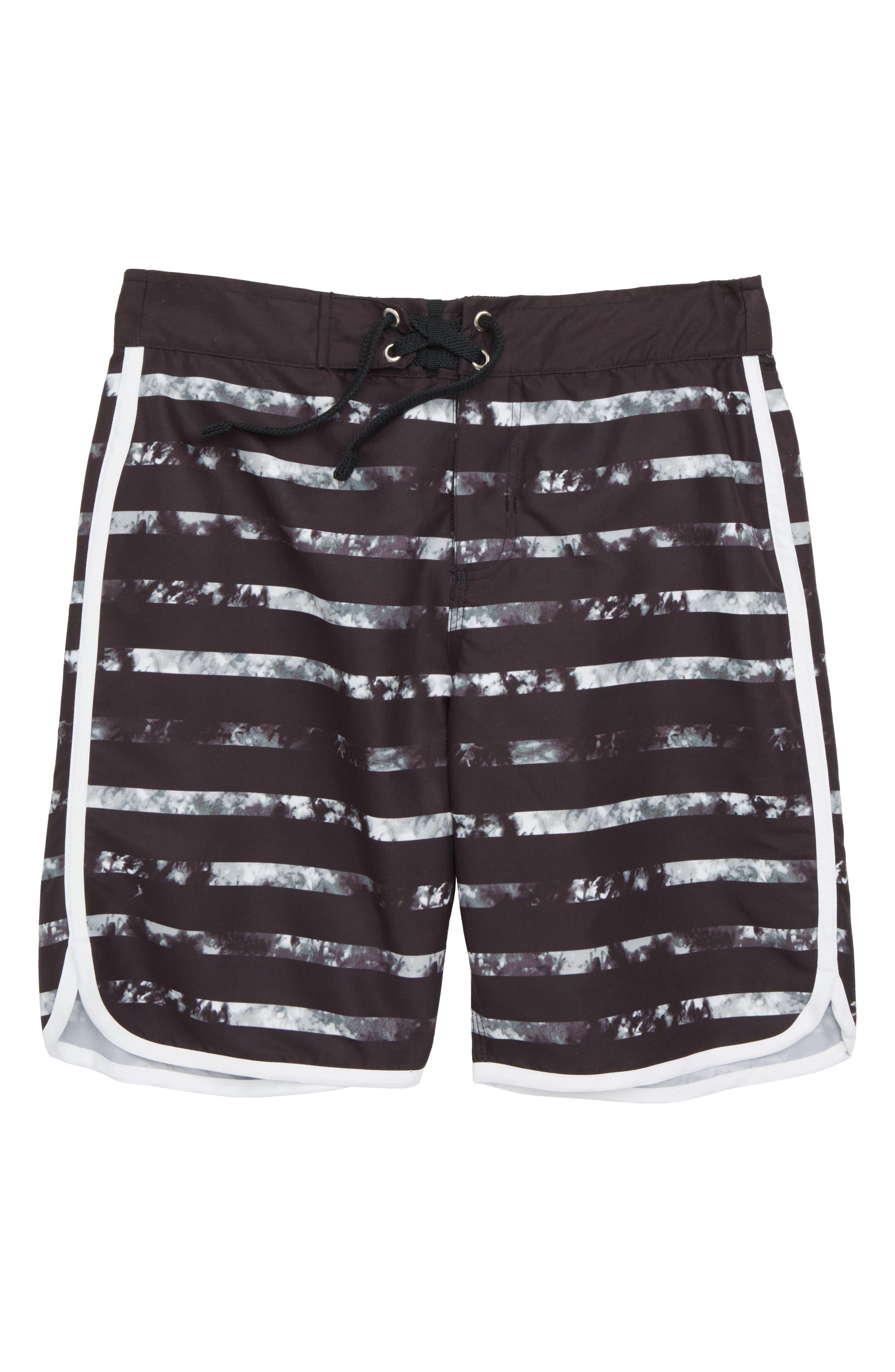 Board Shorts,                         Main,                         color, Black Tie Dye Stripe