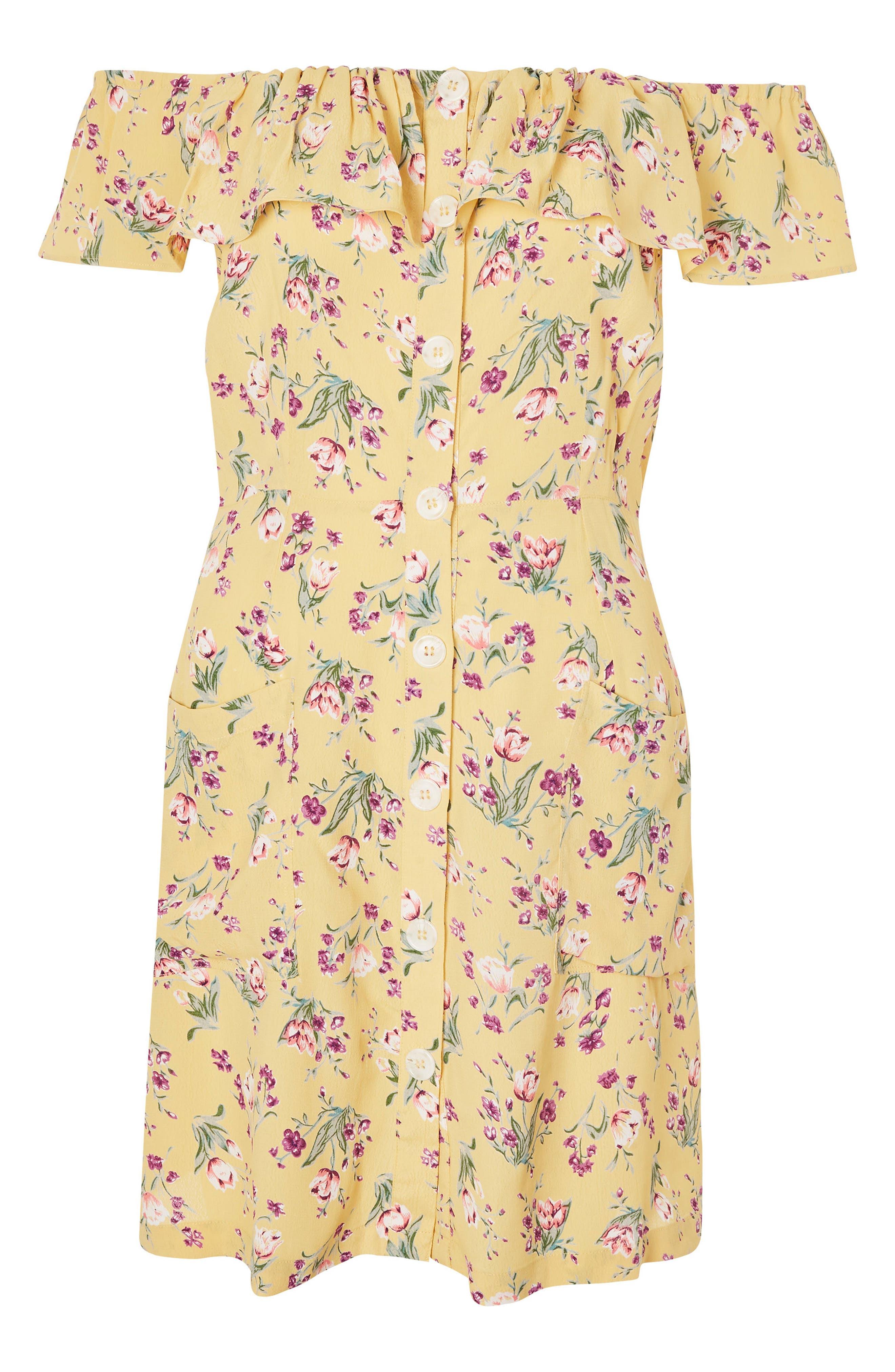 Spring Floral Minidress,                             Alternate thumbnail 4, color,                             Yellow Multi
