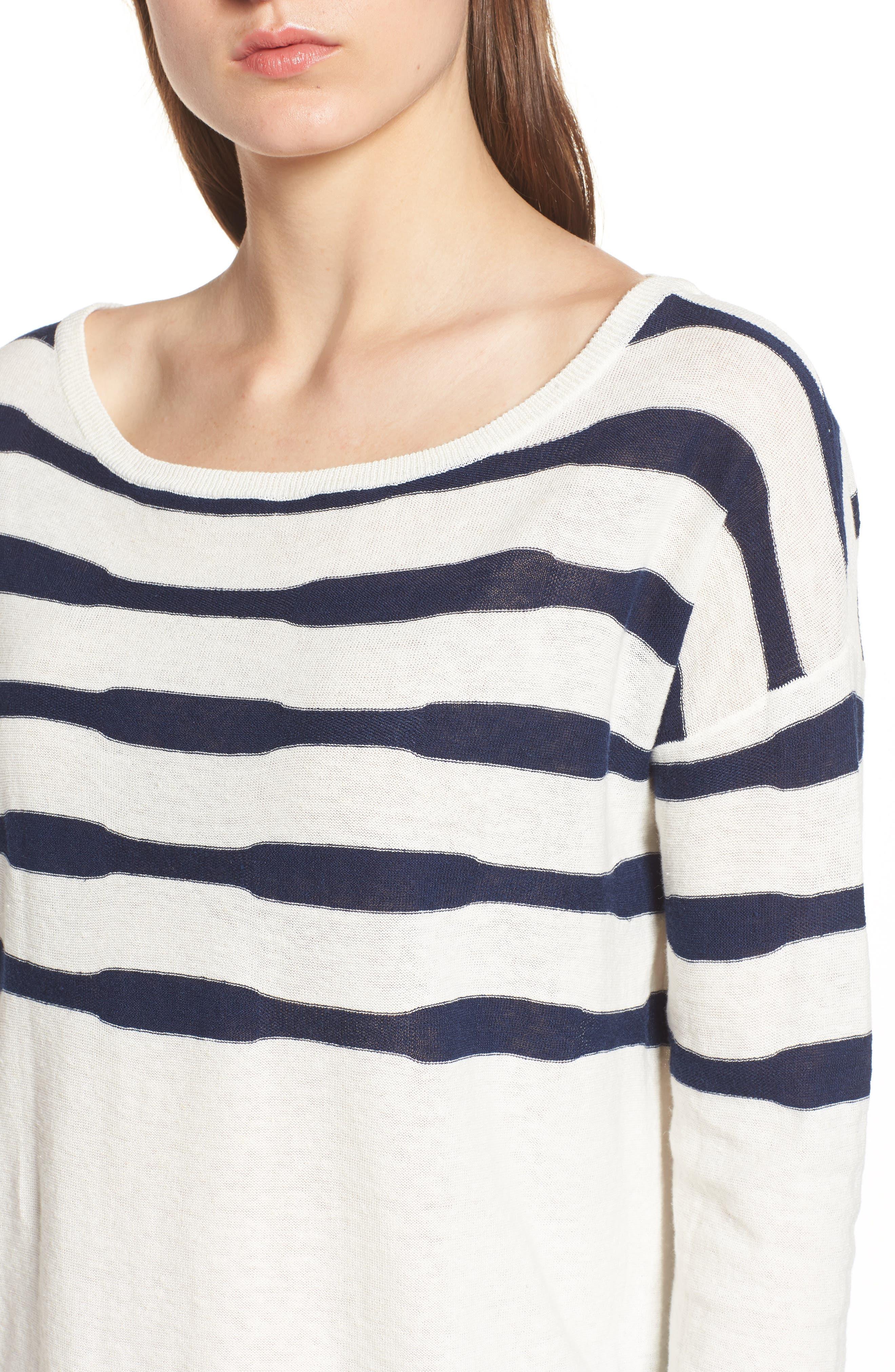 Stripe Linen & Cotton Sweater,                             Alternate thumbnail 4, color,                             Natural/ Navy