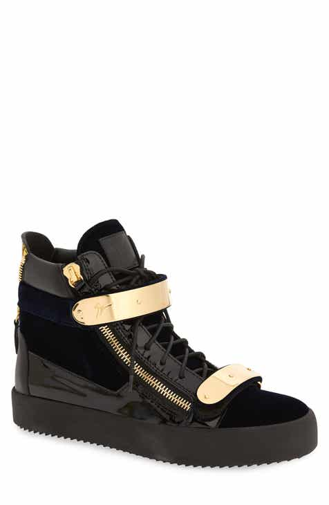 d222236222167 Giuseppe Zanotti Gold Bar High Top Sneaker (Men)