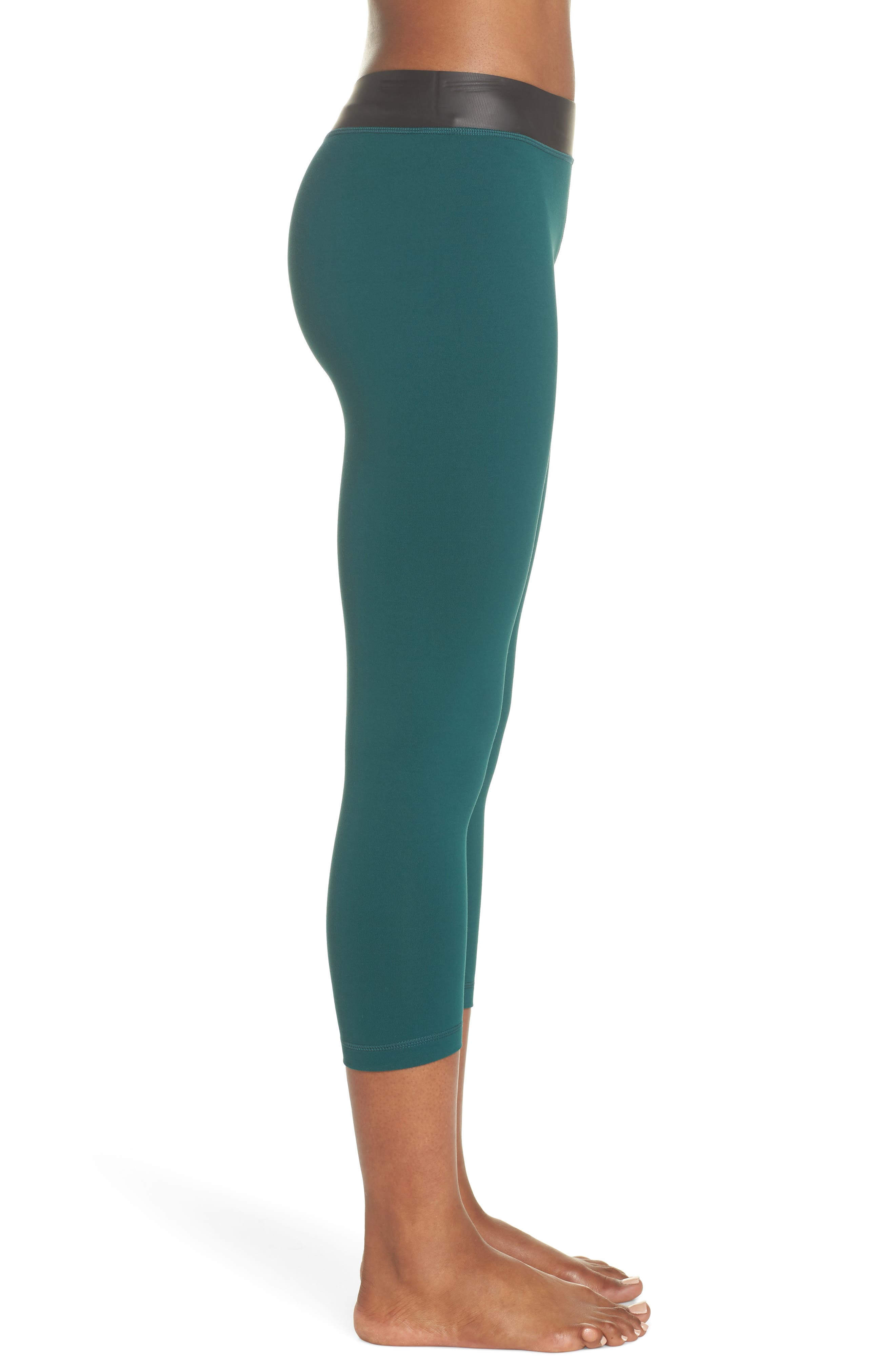 Neo Banded Crop Leggings,                             Alternate thumbnail 3, color,                             Green Bug