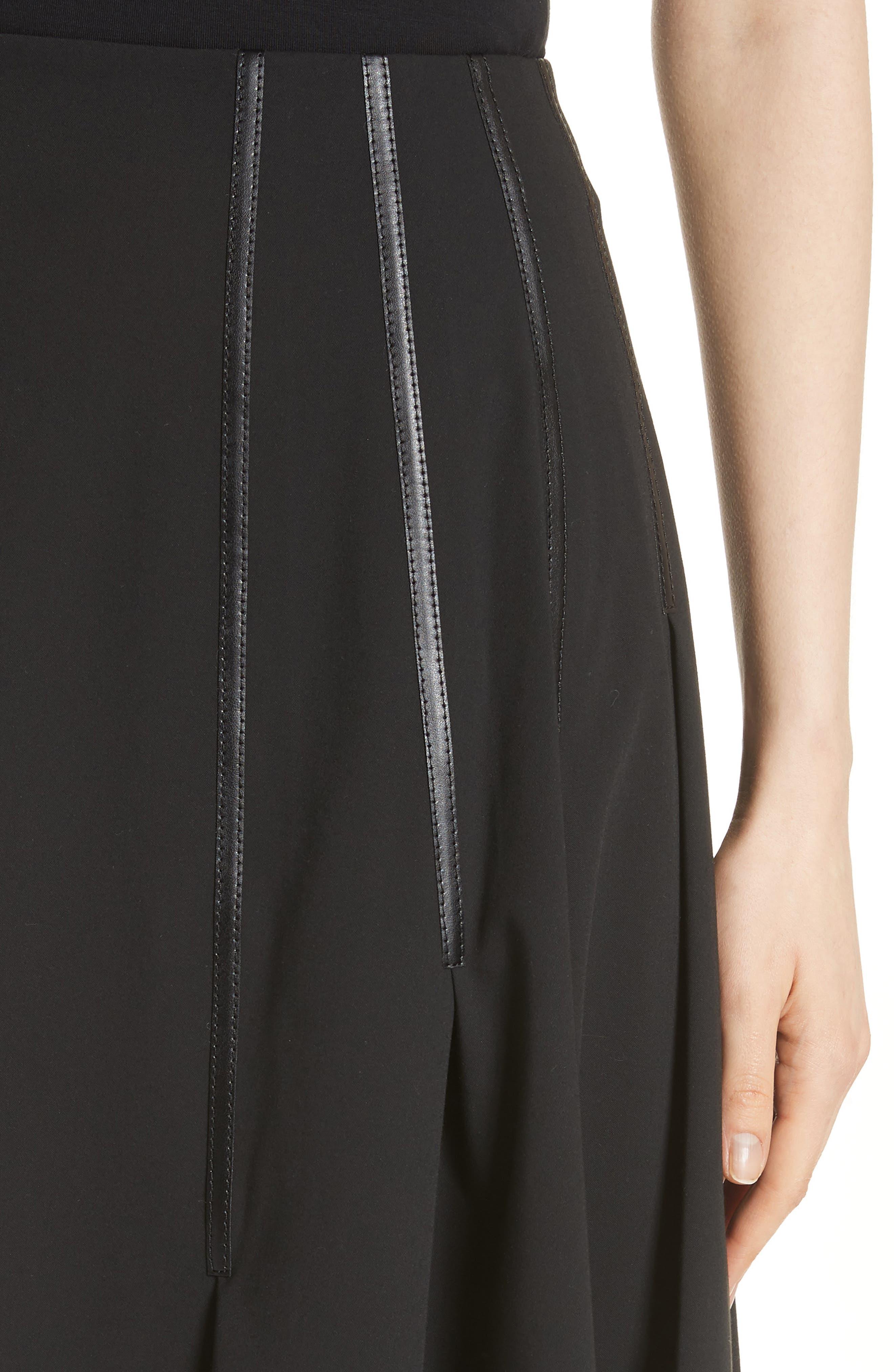 Pleated Faux Leather Trim Skirt,                             Alternate thumbnail 4, color,                             Black