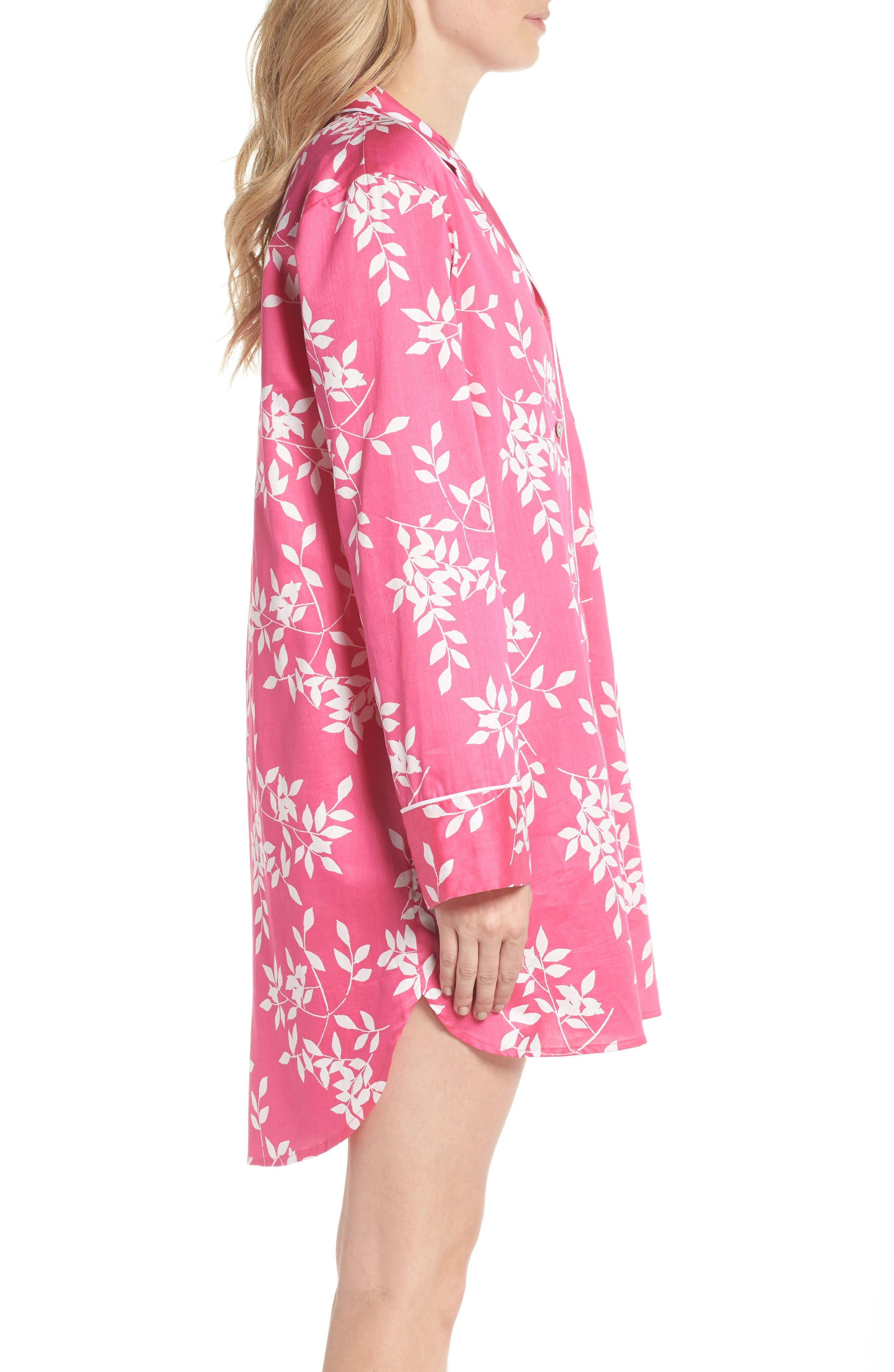 Branch Print Cotton Sateen Sleep Shirt,                             Alternate thumbnail 3, color,                             Hibiscus Pink