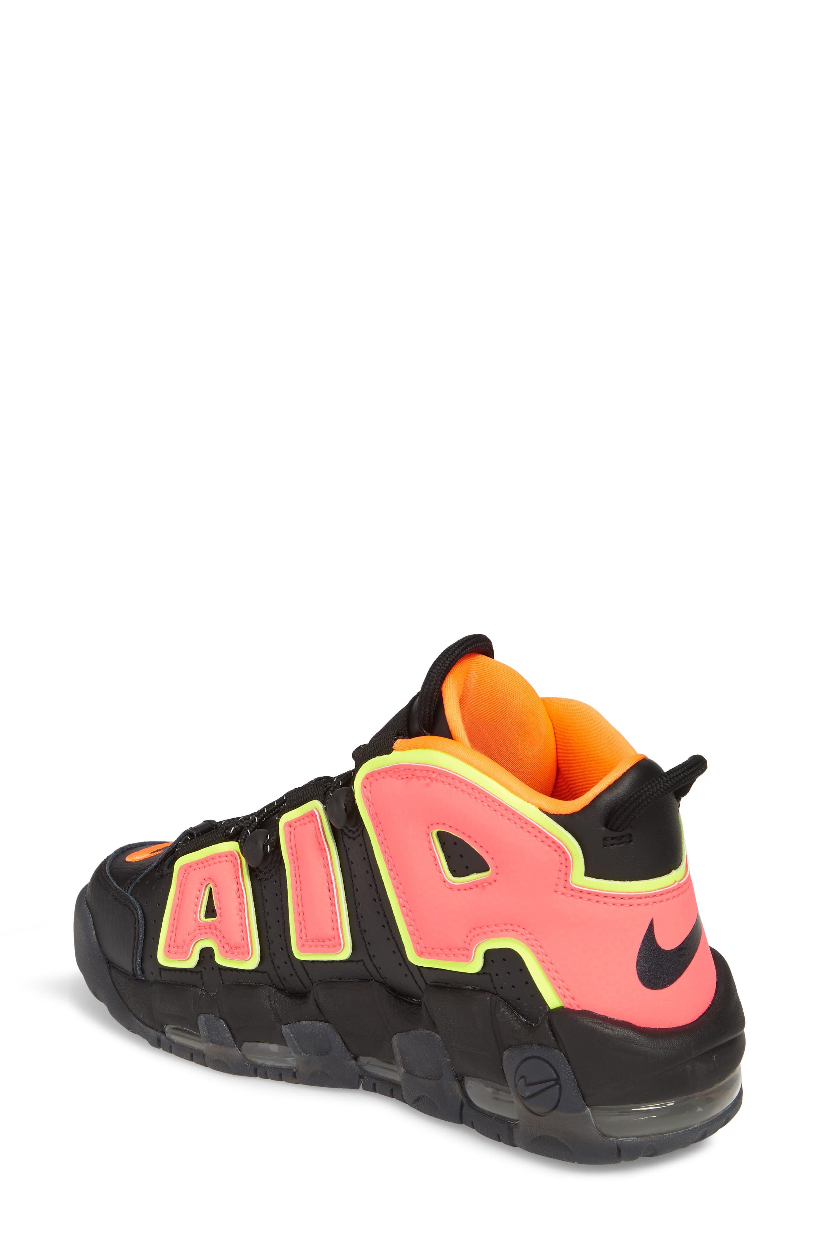 Air More Uptempo Sneaker,                             Alternate thumbnail 2, color,                             Black/ Punch/ Total Orange