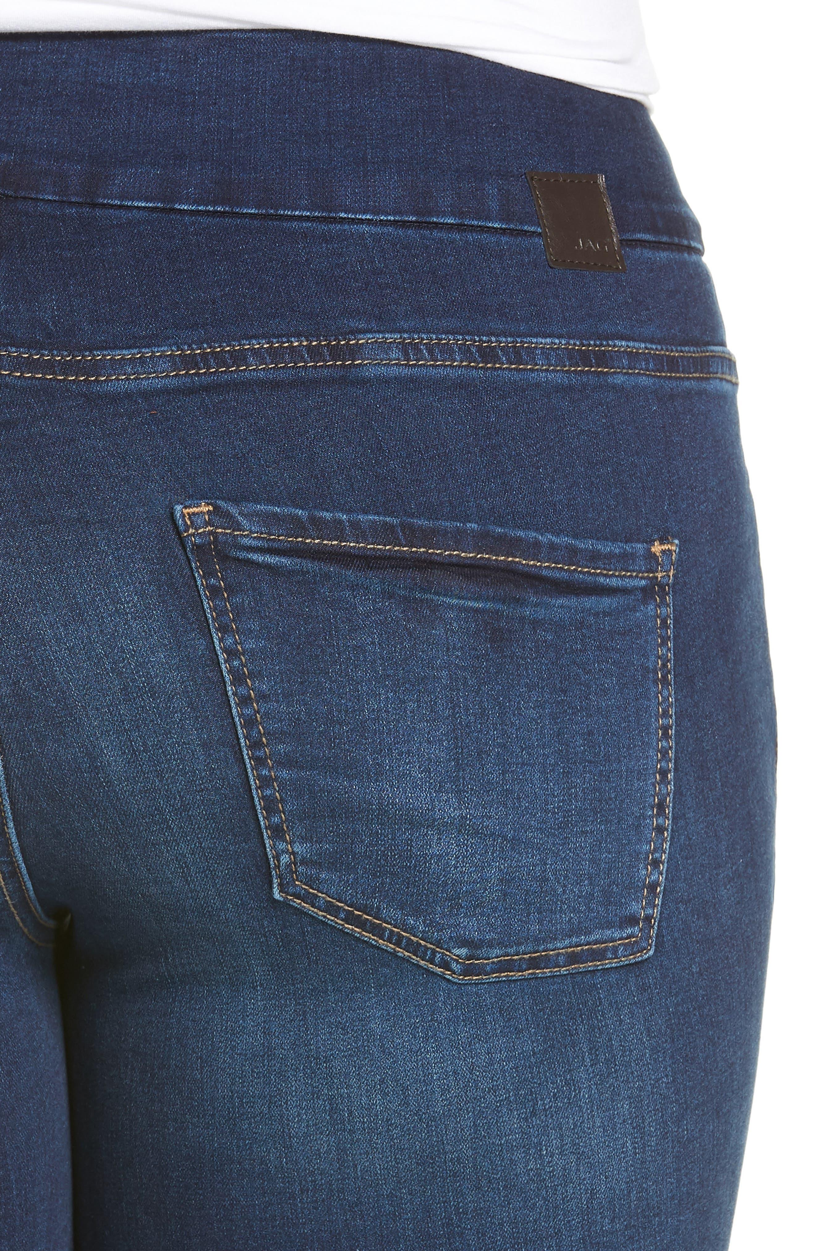 Nora Stretch Skinny Jeans,                             Alternate thumbnail 4, color,                             Med Indigo