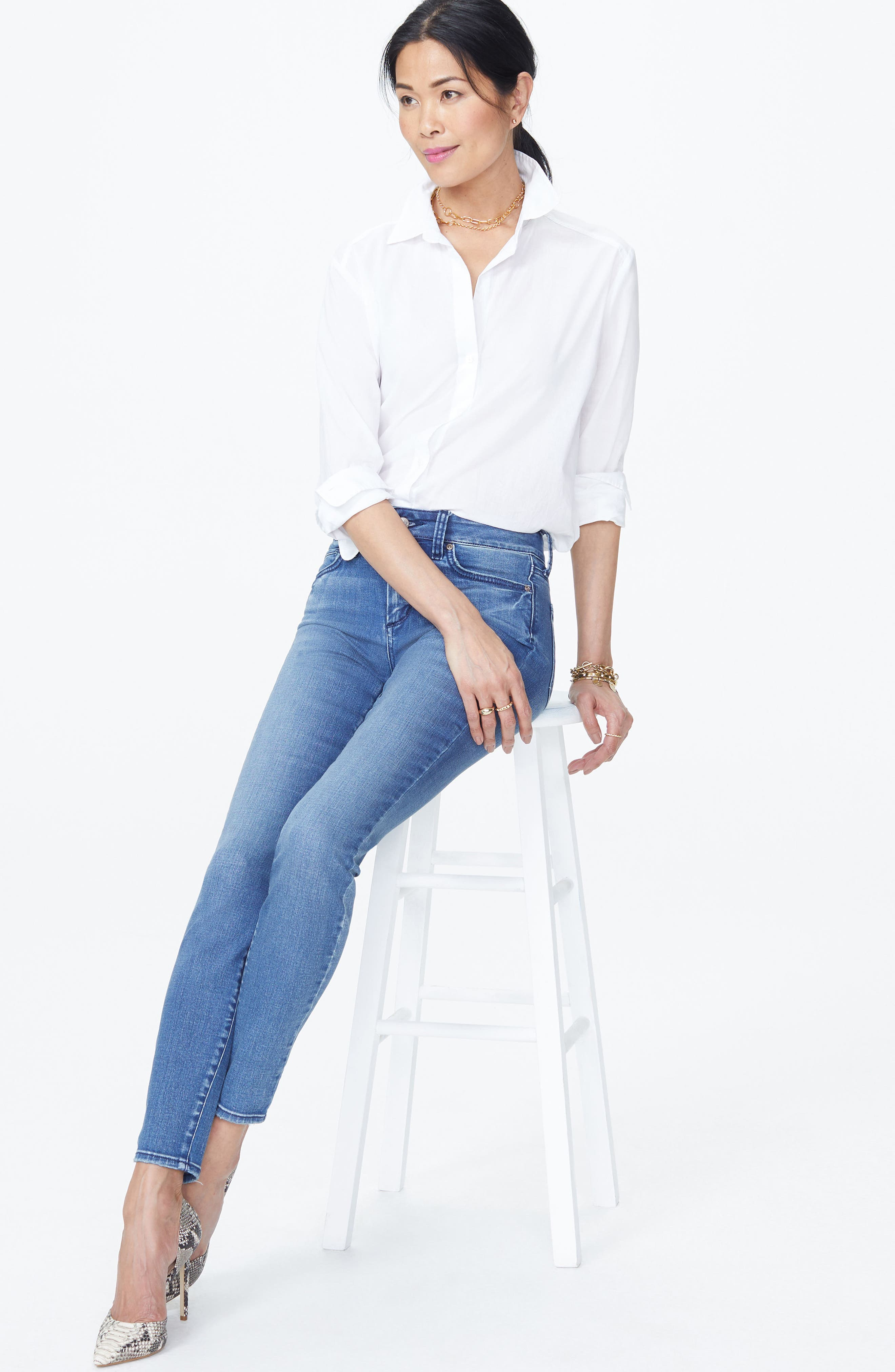 Ami Stretch Skinny Jeans,                             Alternate thumbnail 4, color,                             Wishful
