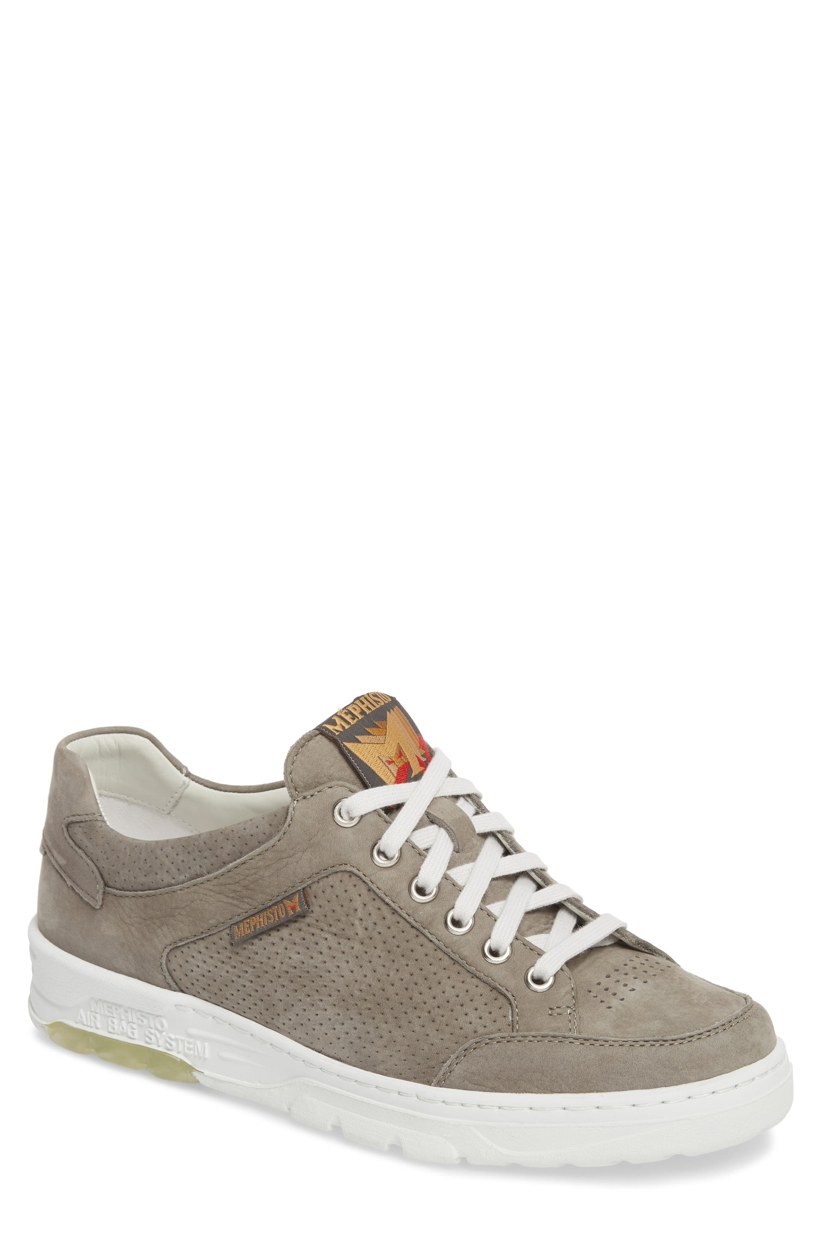 Mathias Perforated Sneaker,                             Main thumbnail 1, color,                             Light Grey
