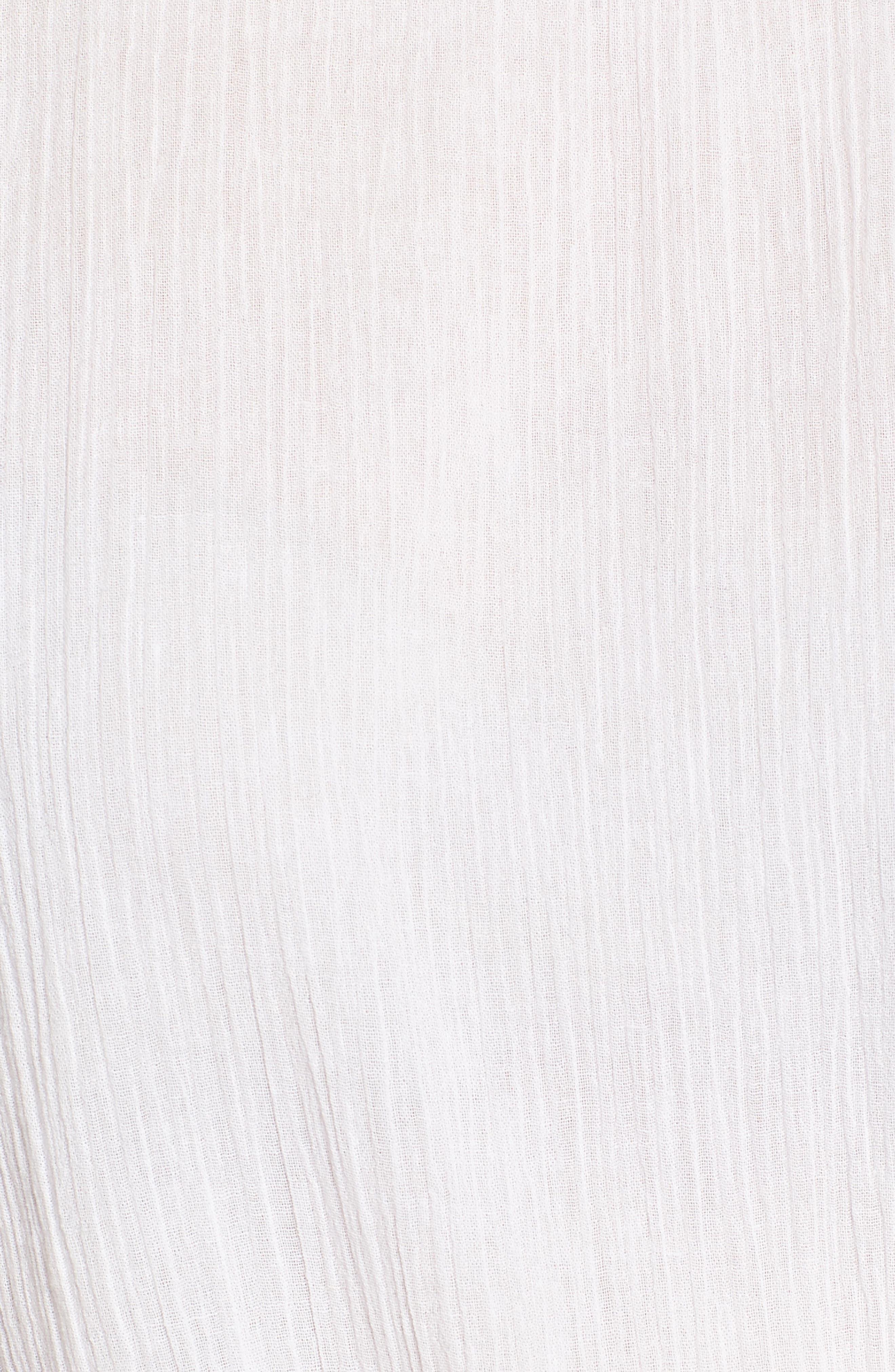 Tie Front Cut Floral Sleeve Cotton Blouse,                             Alternate thumbnail 6, color,                             White