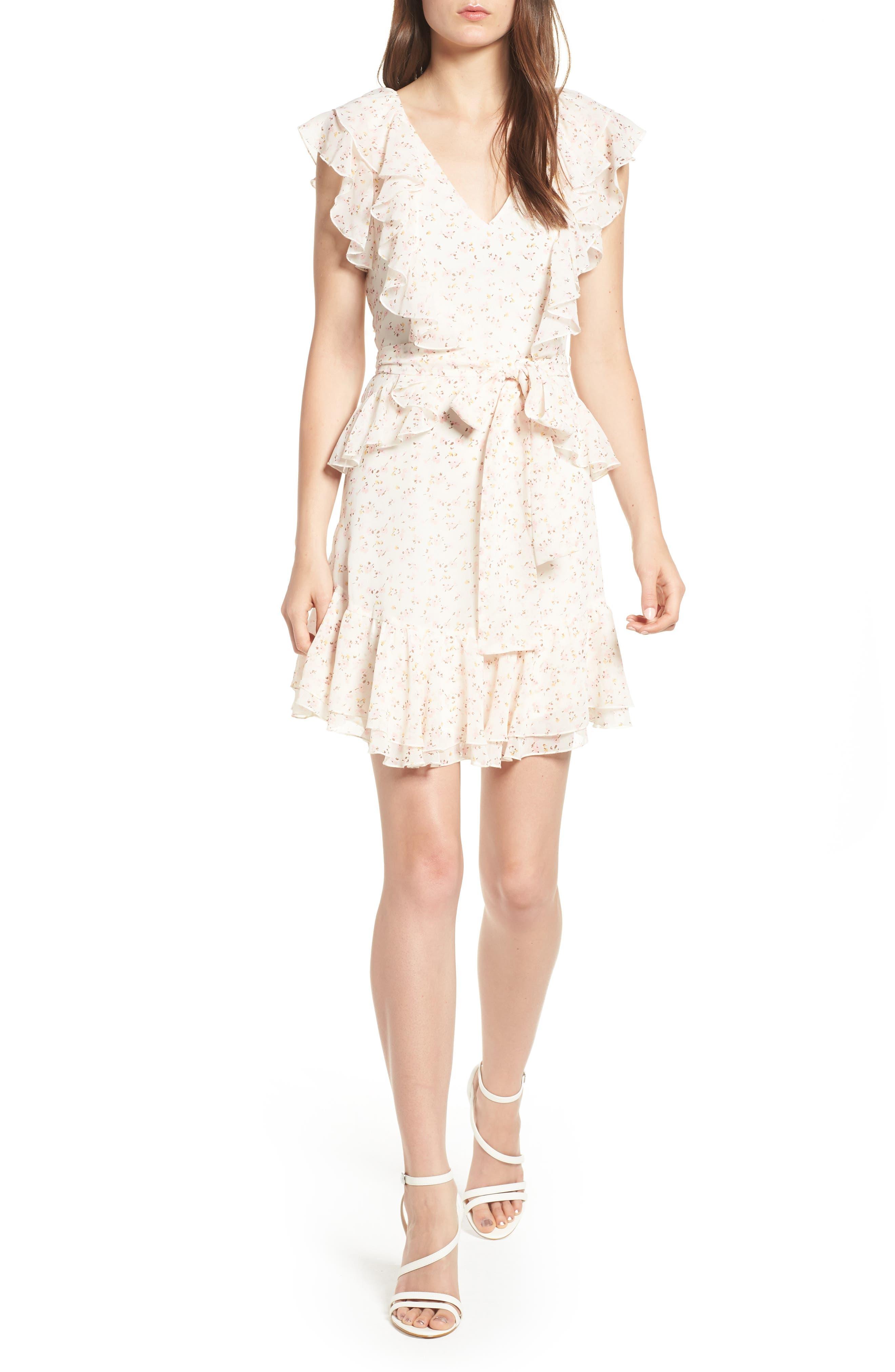 Terni Ruffle Minidress,                             Main thumbnail 1, color,                             Ivory Ditzy