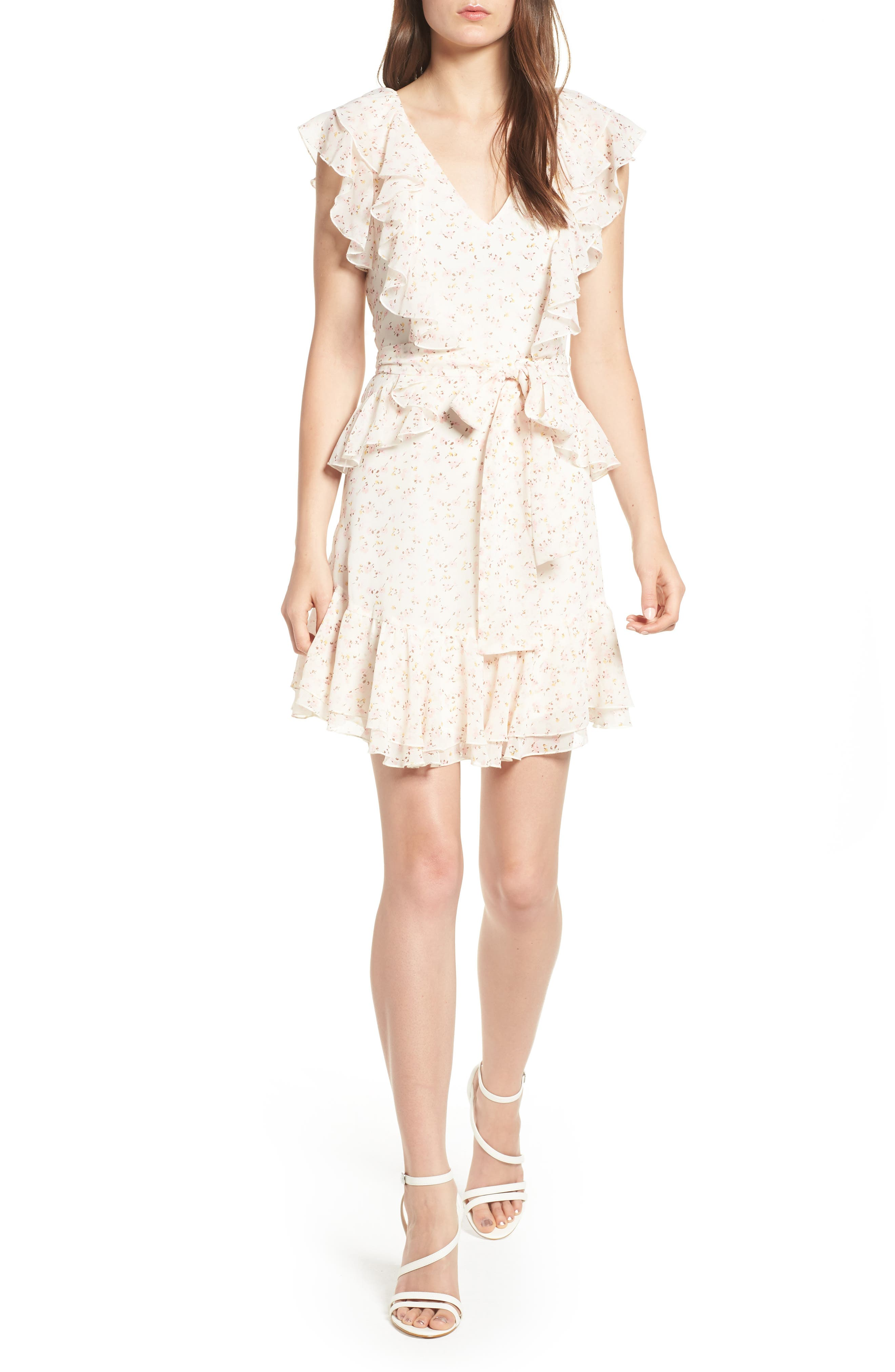 Terni Ruffle Minidress,                         Main,                         color, Ivory Ditzy