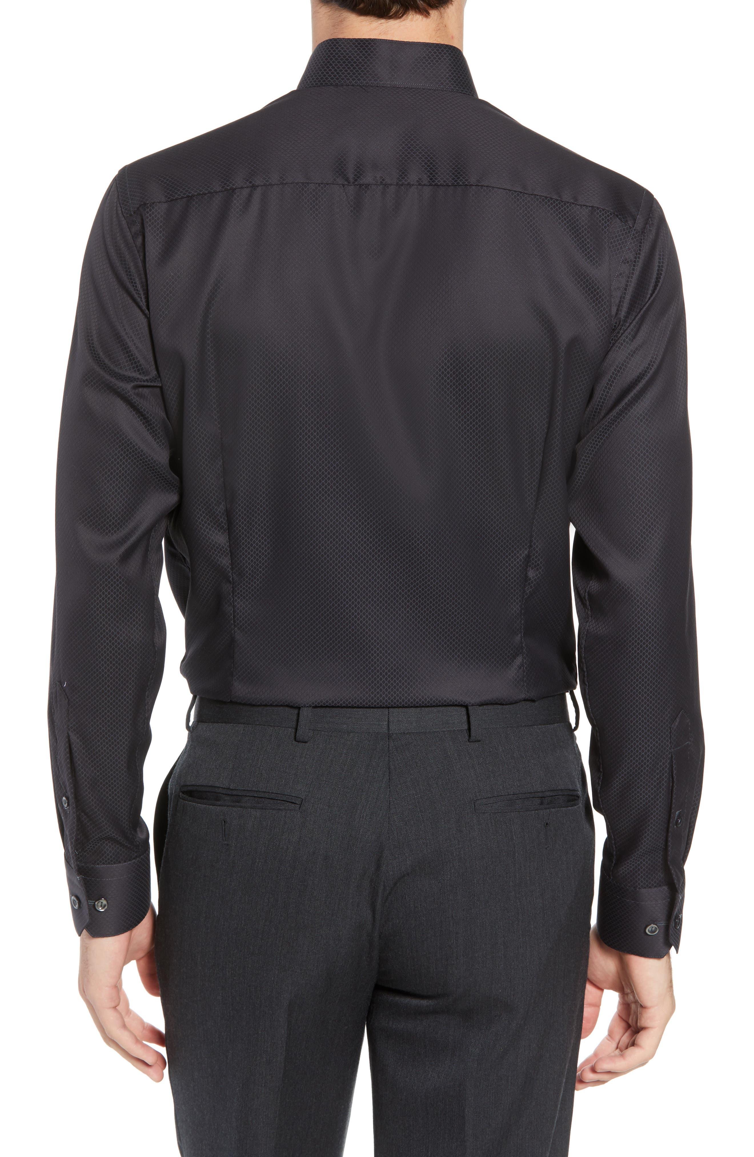 Slim Fit Solid Dress Shirt,                             Alternate thumbnail 3, color,                             Black