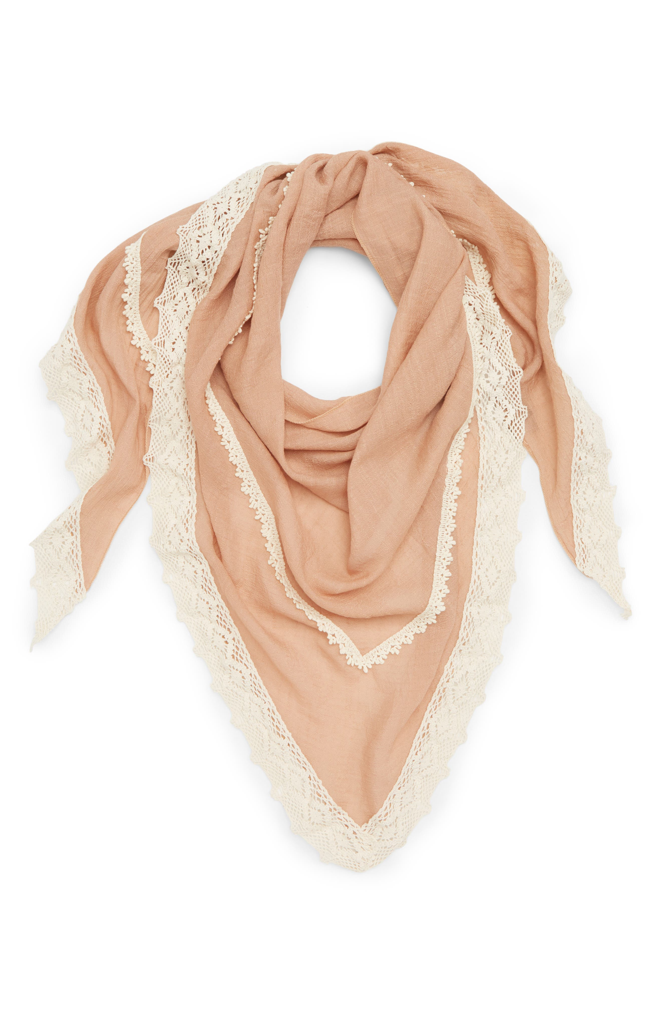 David & Young Crochet Trim Triangle Scarf