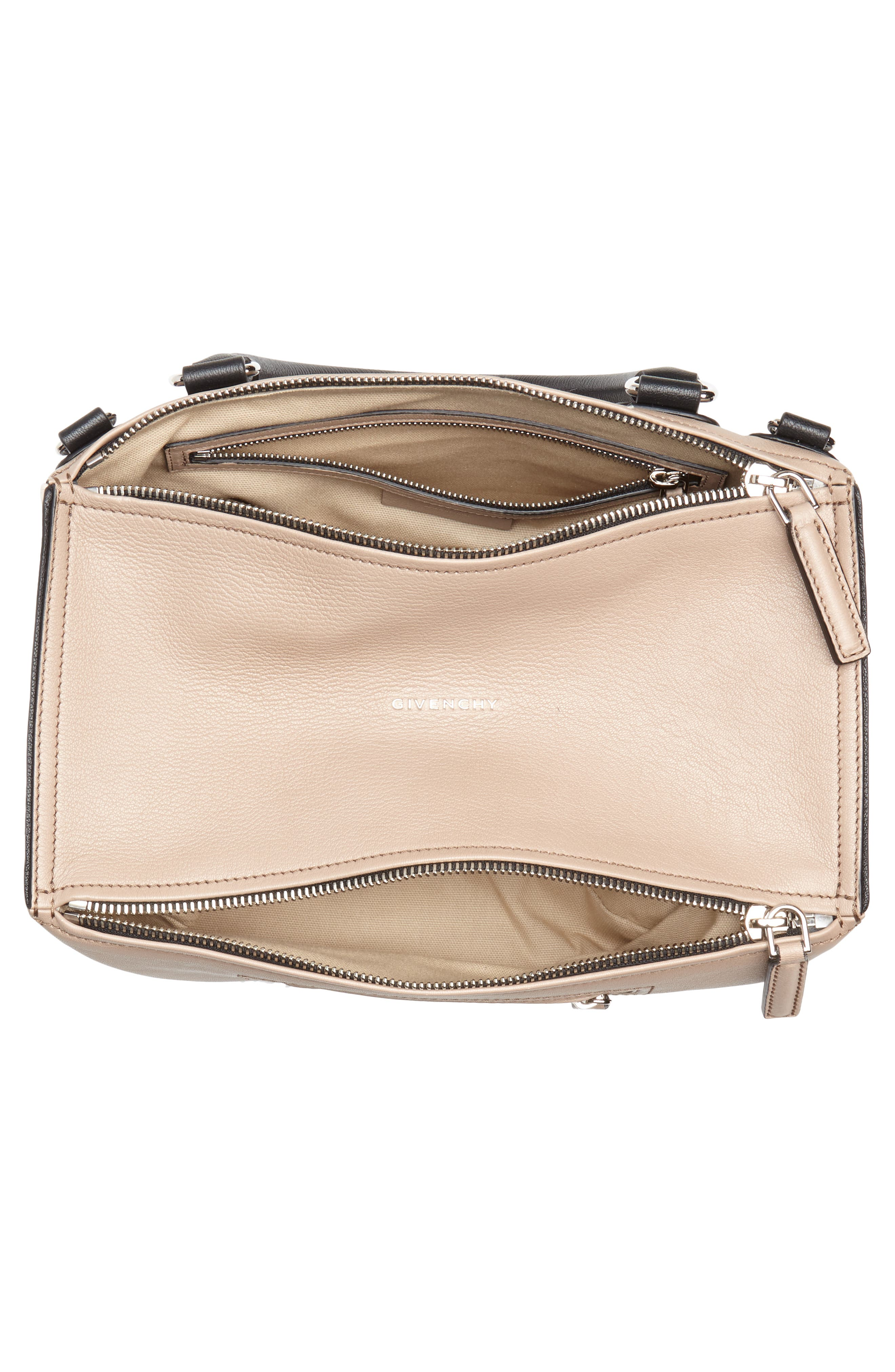 Medium Pandora Box Tricolor Leather Crossbody Bag,                             Alternate thumbnail 4, color,                             Linen