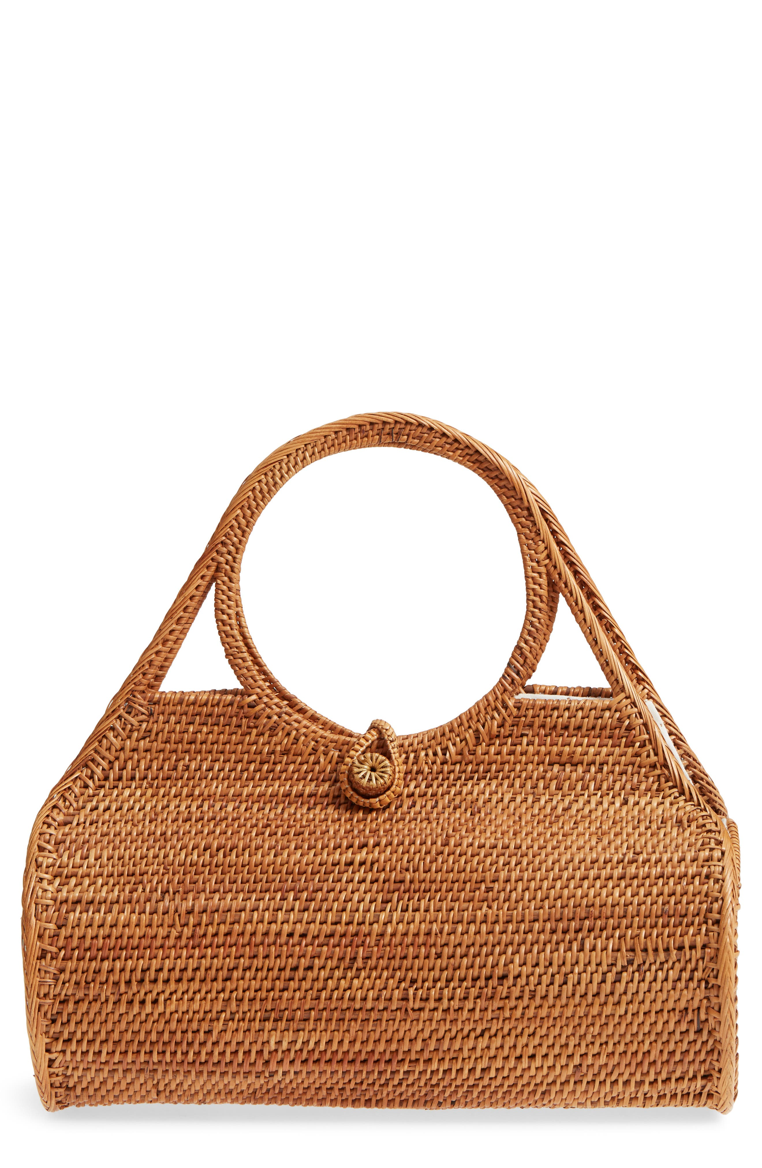 Woven Rattan Handbag,                         Main,                         color, Tan