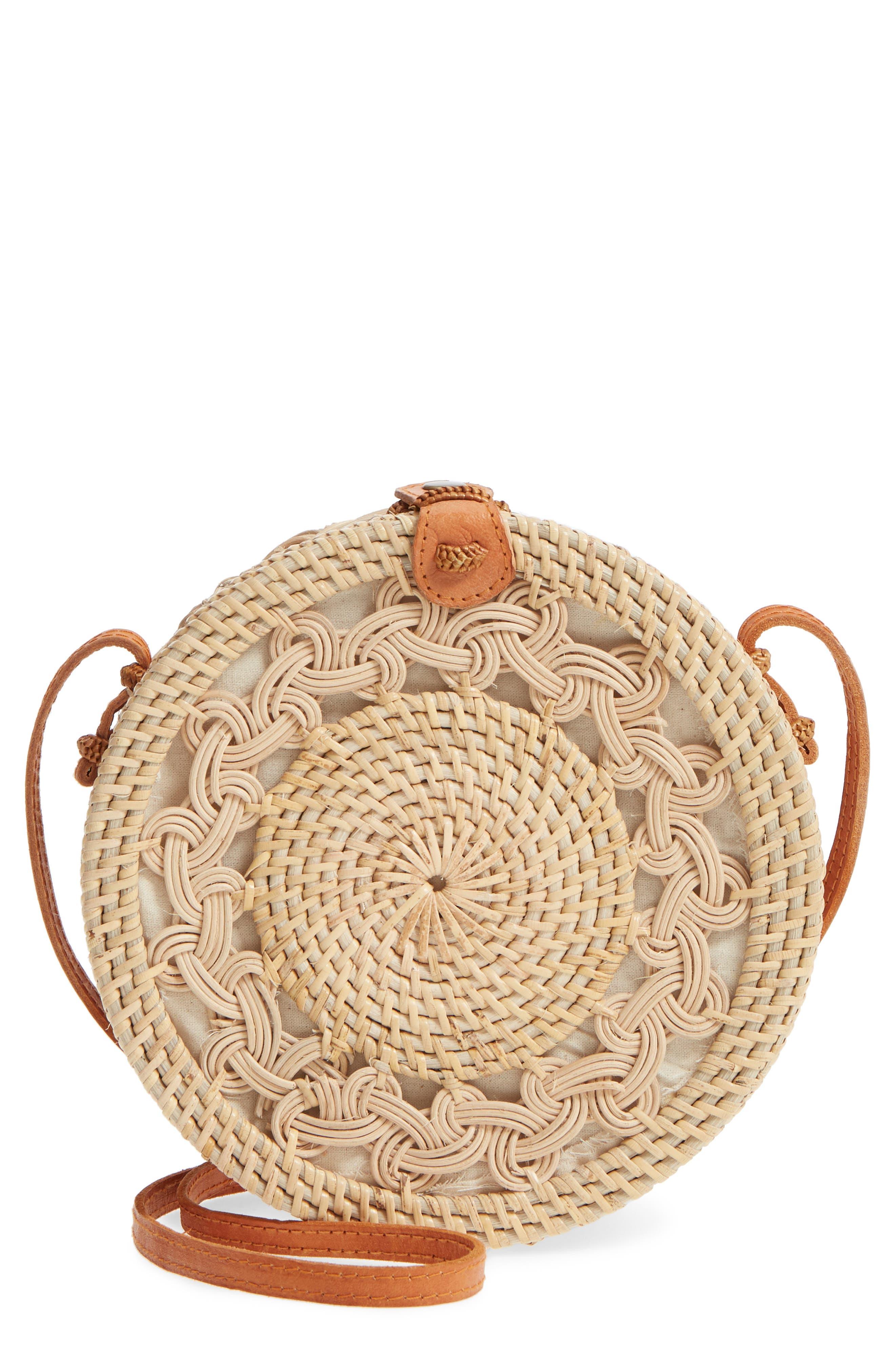 Woven Rattan Circle Crossbody Bag,                             Main thumbnail 1, color,                             Lighter Tan/ Natural