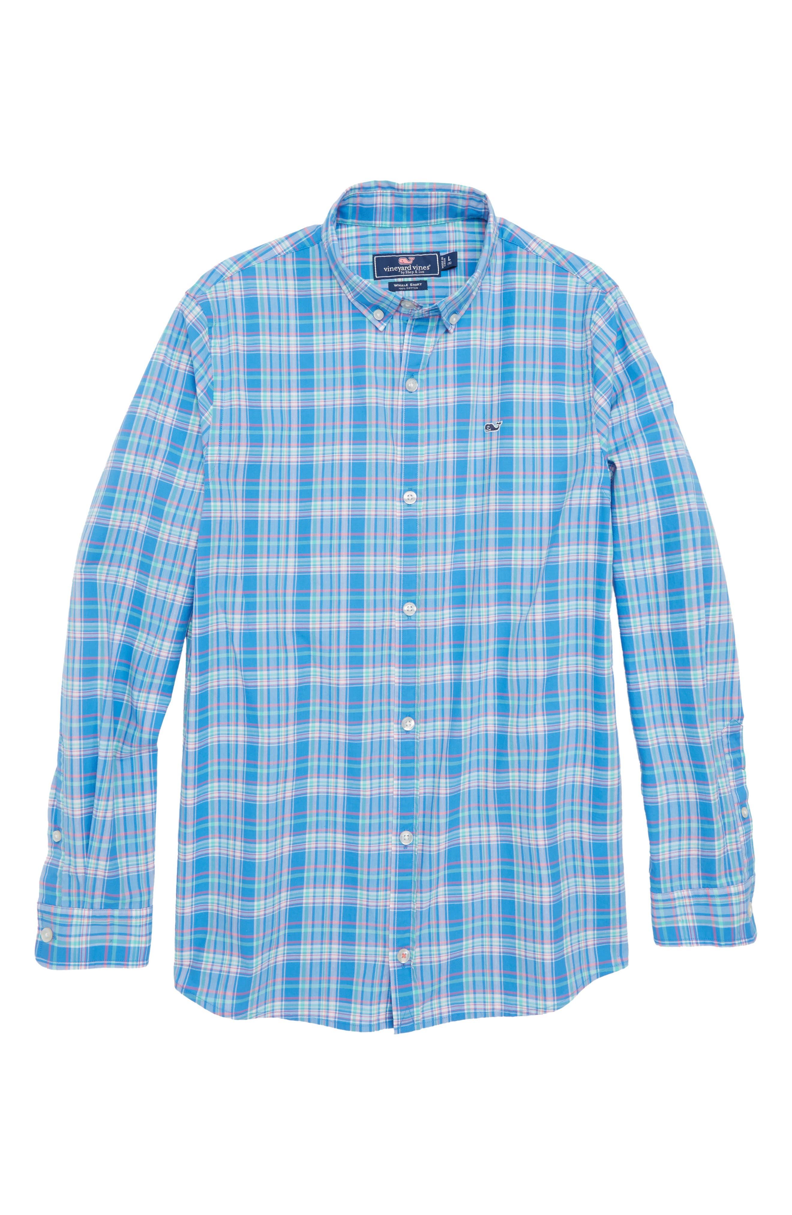 Bita Bay Plaid Shirt,                         Main,                         color, Hull Blue