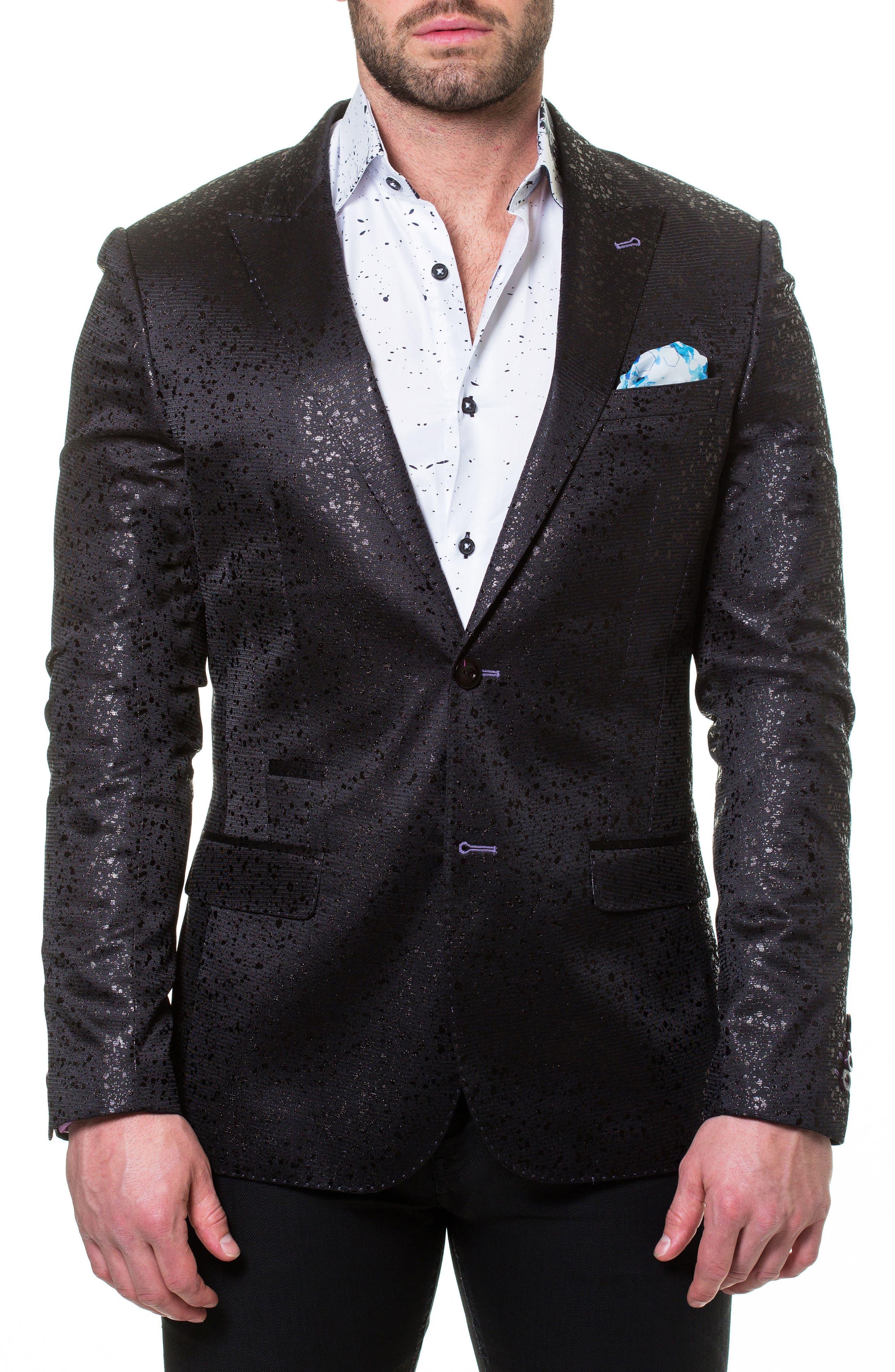 Elegance Splatter Sport Coat,                             Main thumbnail 1, color,                             Black