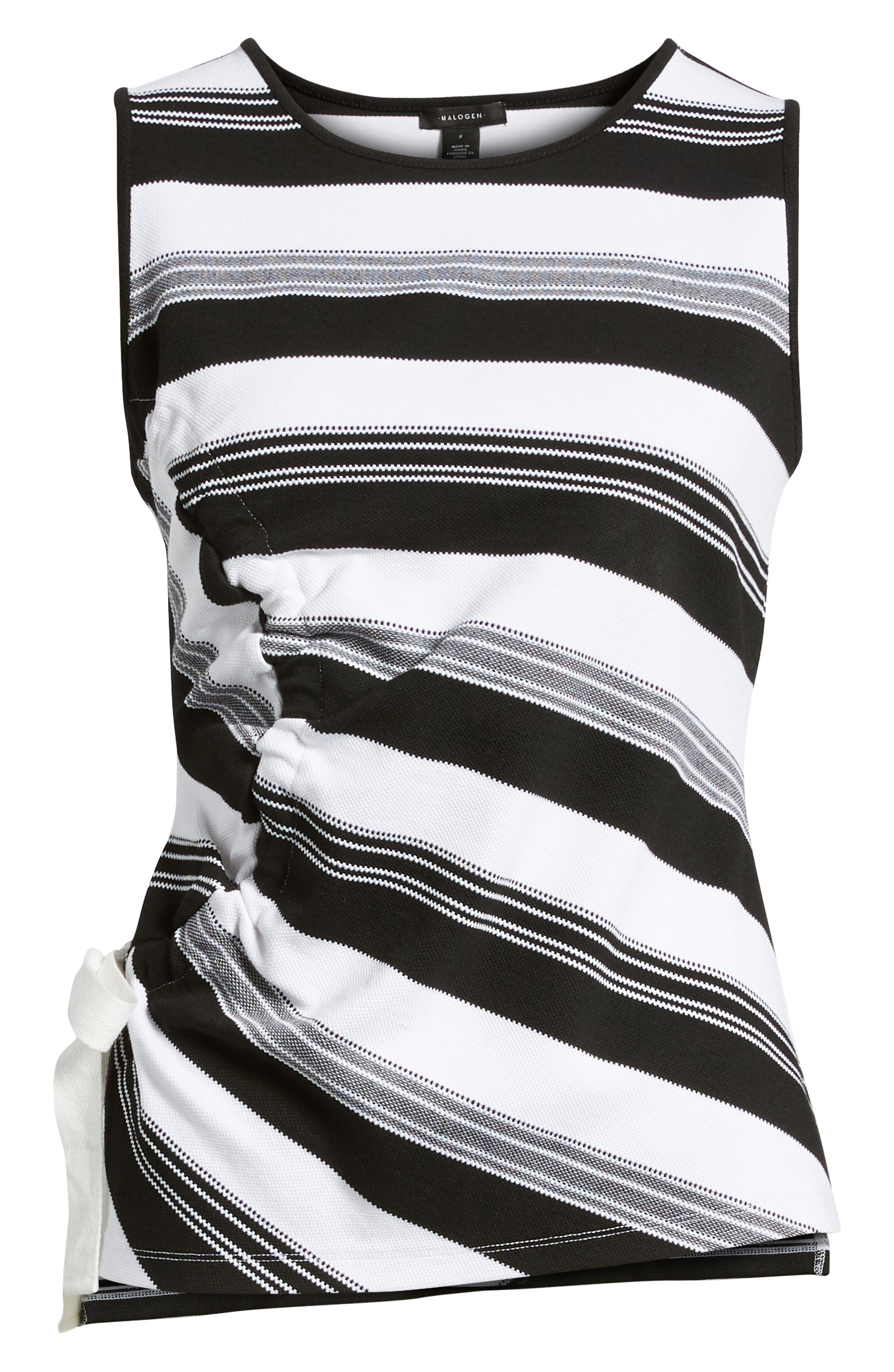 Ruched Stripe Tank Top,                             Alternate thumbnail 6, color,                             Black- Ivory Stripe