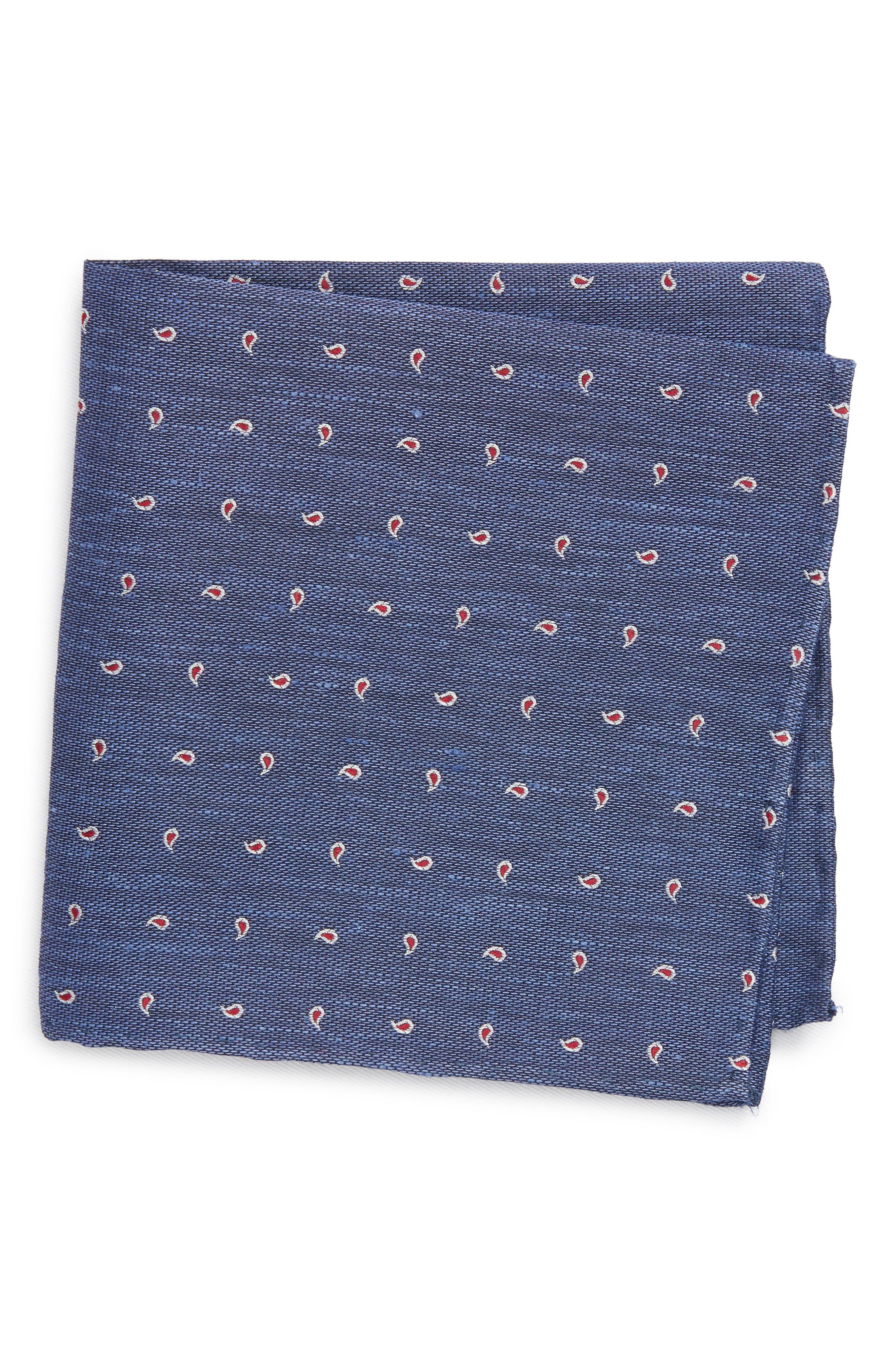 Budding Paisley Silk & Linen Pocket Square,                         Main,                         color, Blue