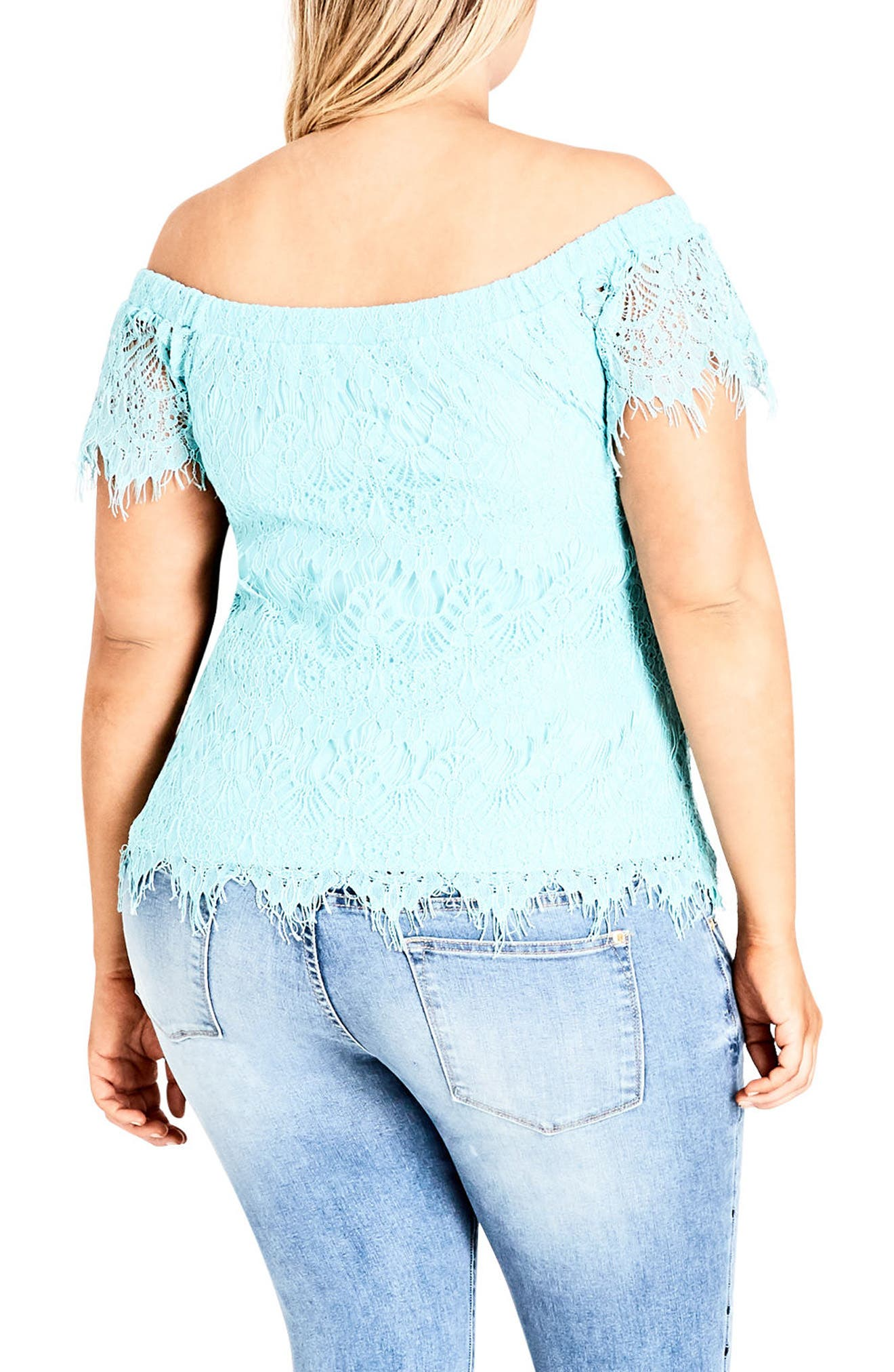 Lacy Off the Shoulder Top,                             Alternate thumbnail 2, color,                             Mint