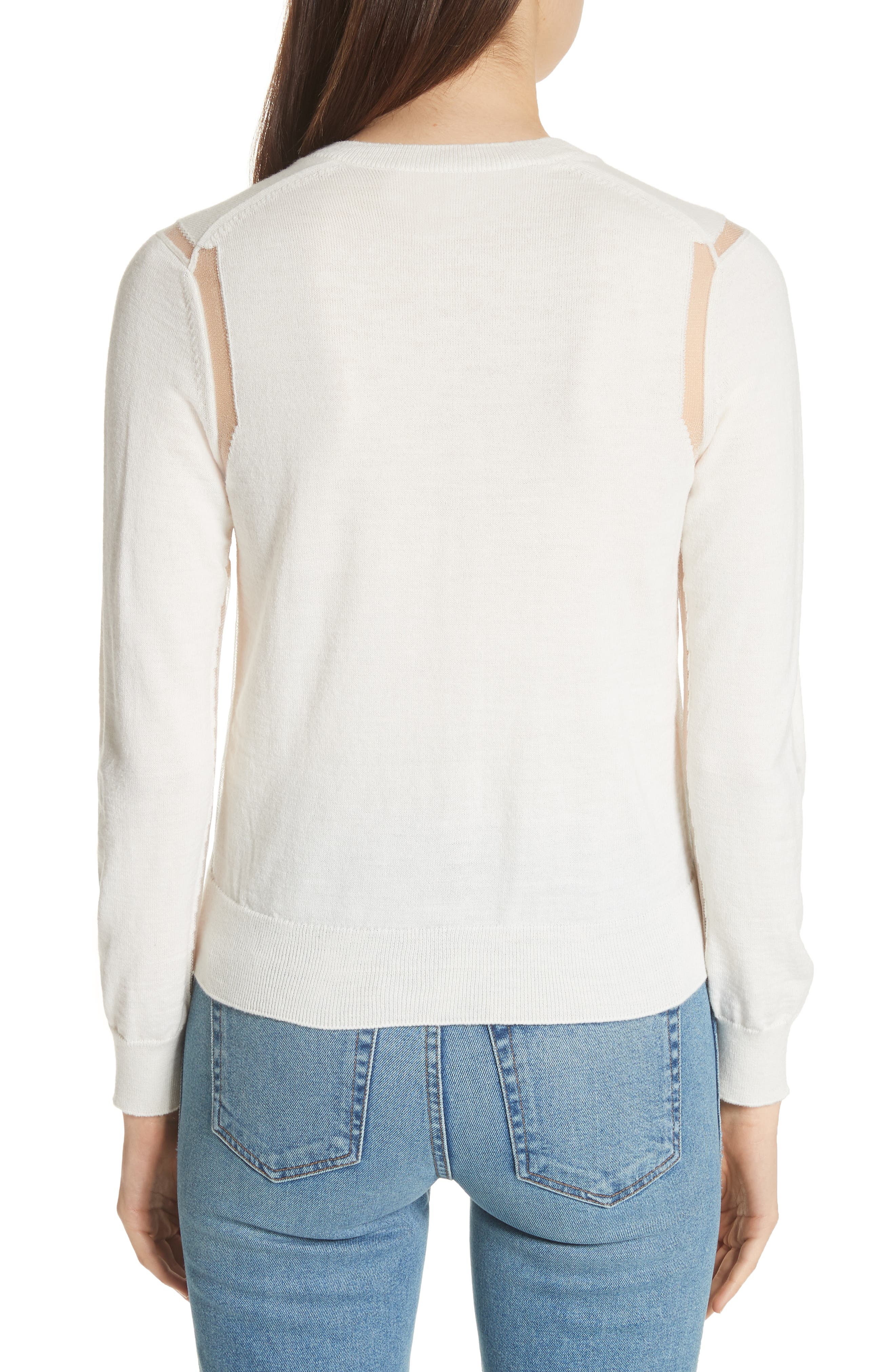 Sheer Panel Button Cardigan,                             Alternate thumbnail 2, color,                             Off White