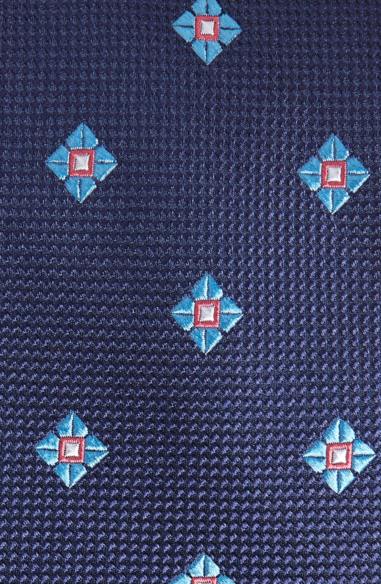 Oxford Medallion Silk Tie,                             Alternate thumbnail 2, color,                             Navy