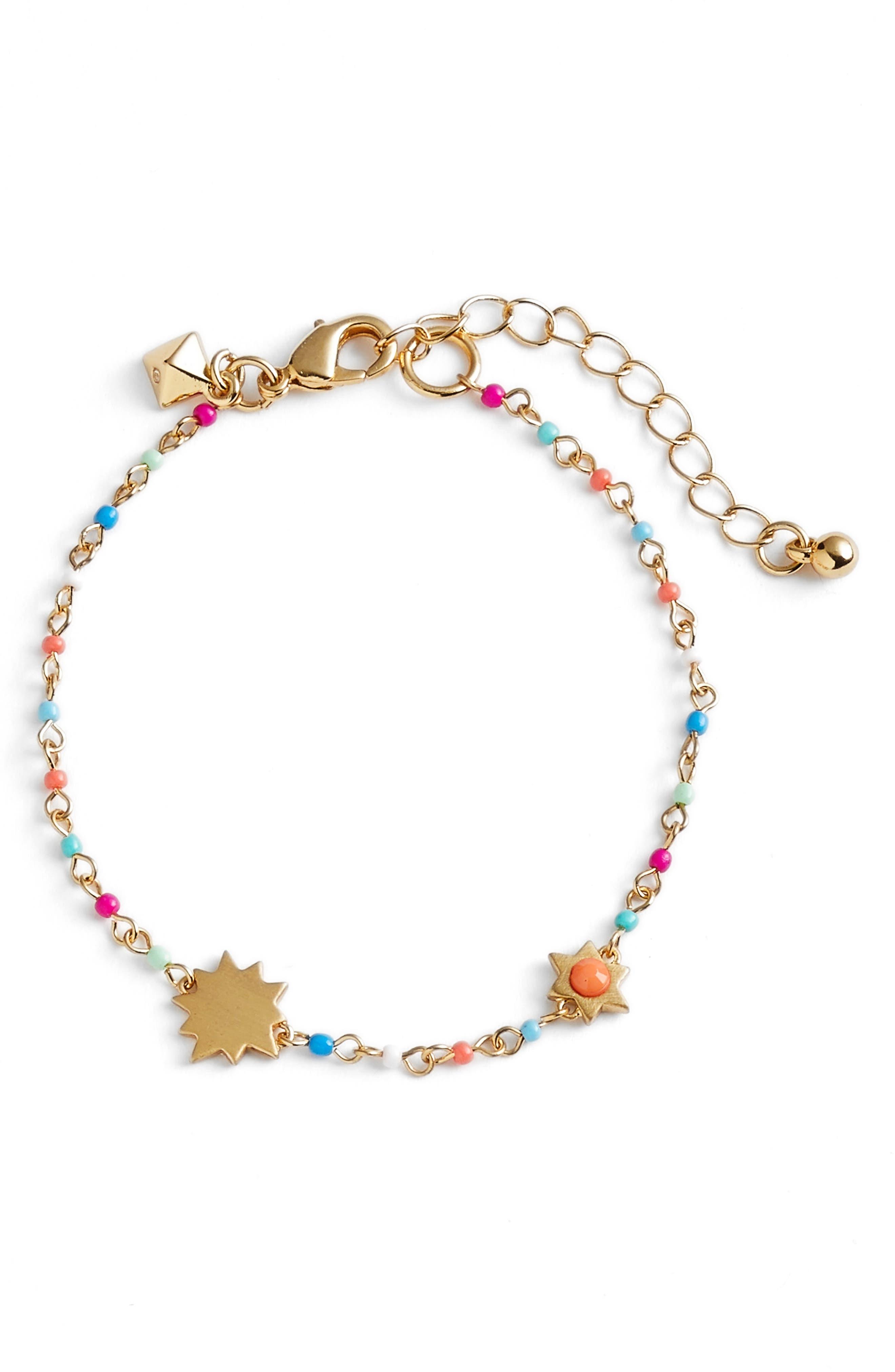 Sole Beaded Link Bracelet,                             Main thumbnail 1, color,                             Bright Multi/ Gold