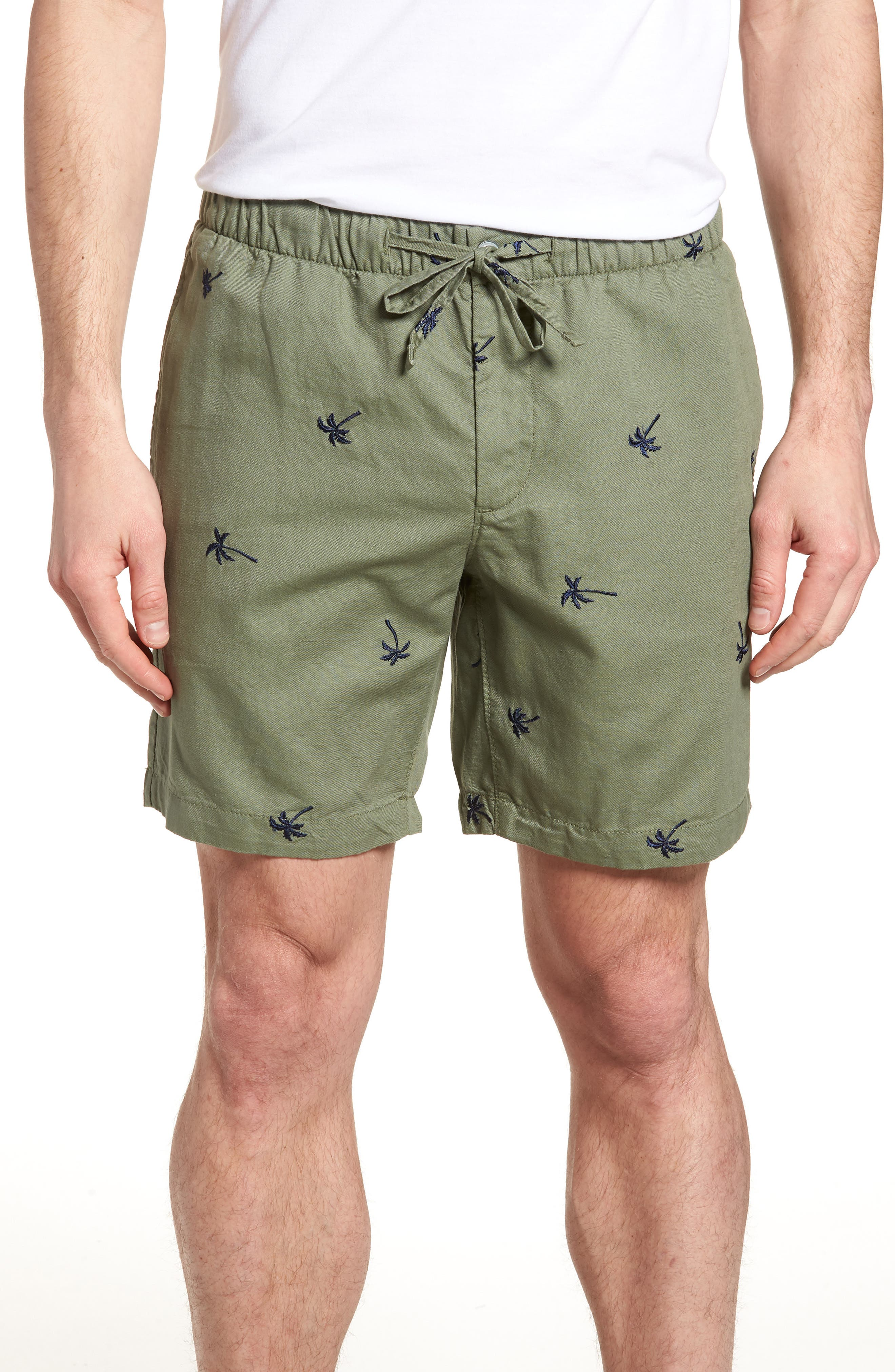 Print Beach Shorts,                             Main thumbnail 1, color,                             Twin Palms Olive