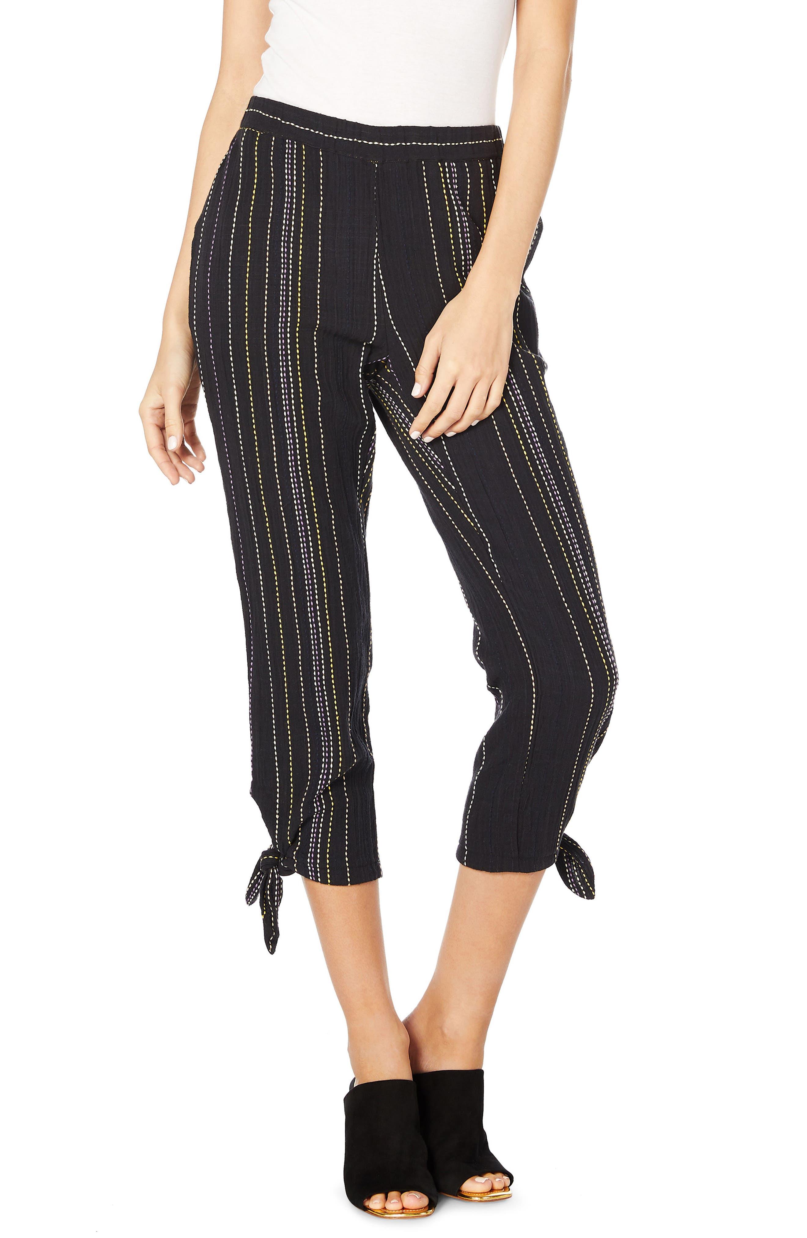 Beach Stripe Capri Pants,                             Main thumbnail 1, color,                             Black