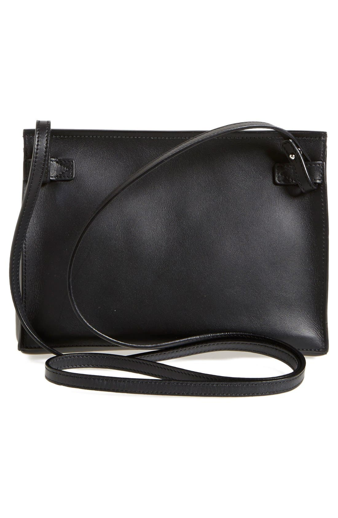 'Signature Collection - Small' Leather Crossbody Bag,                             Alternate thumbnail 2, color,                             Black