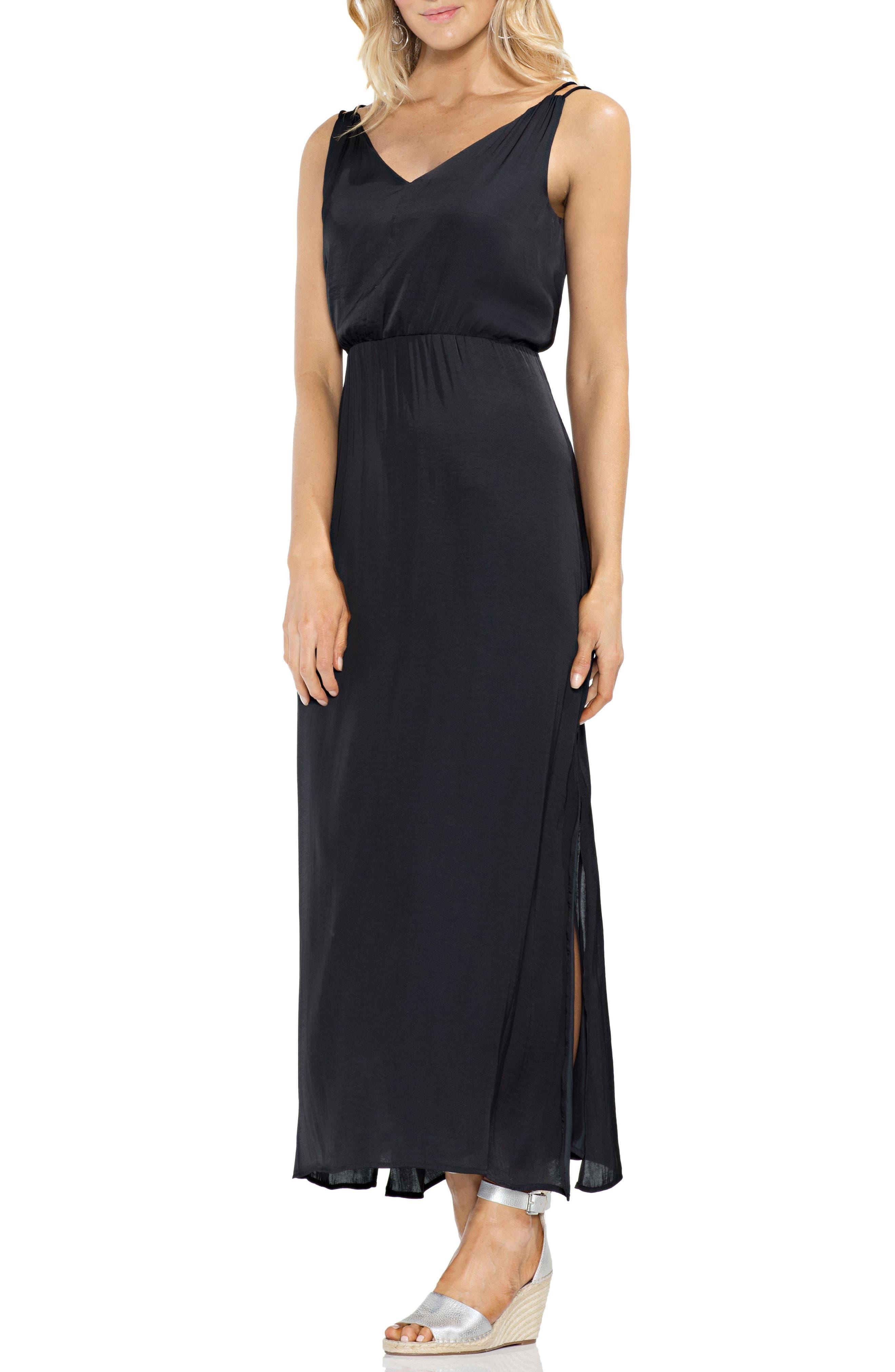 Rumple Satin Blouson Midi Dress,                             Main thumbnail 1, color,                             Rich Black
