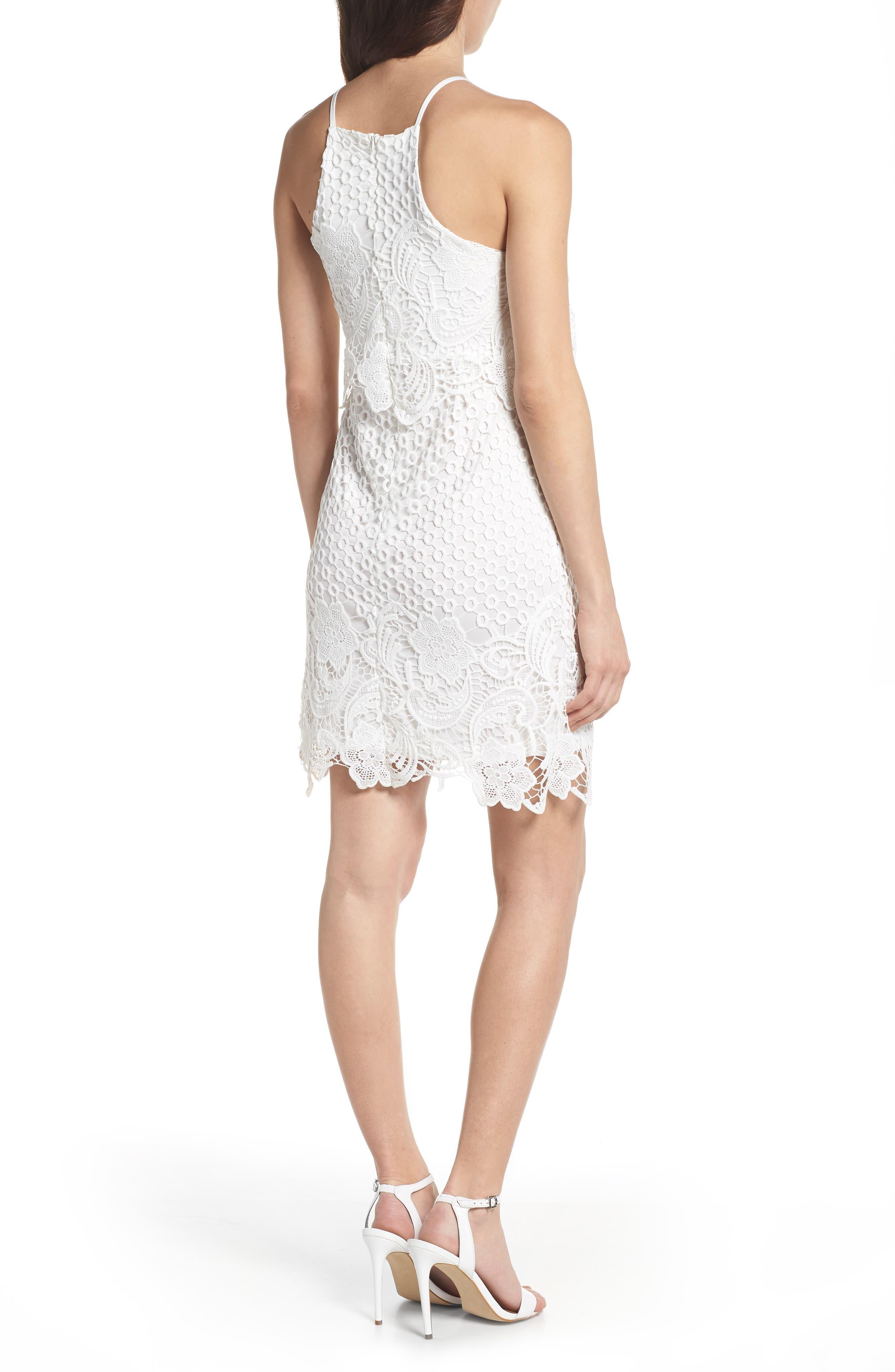 Bryn Lace Halter Dress,                             Alternate thumbnail 2, color,                             White