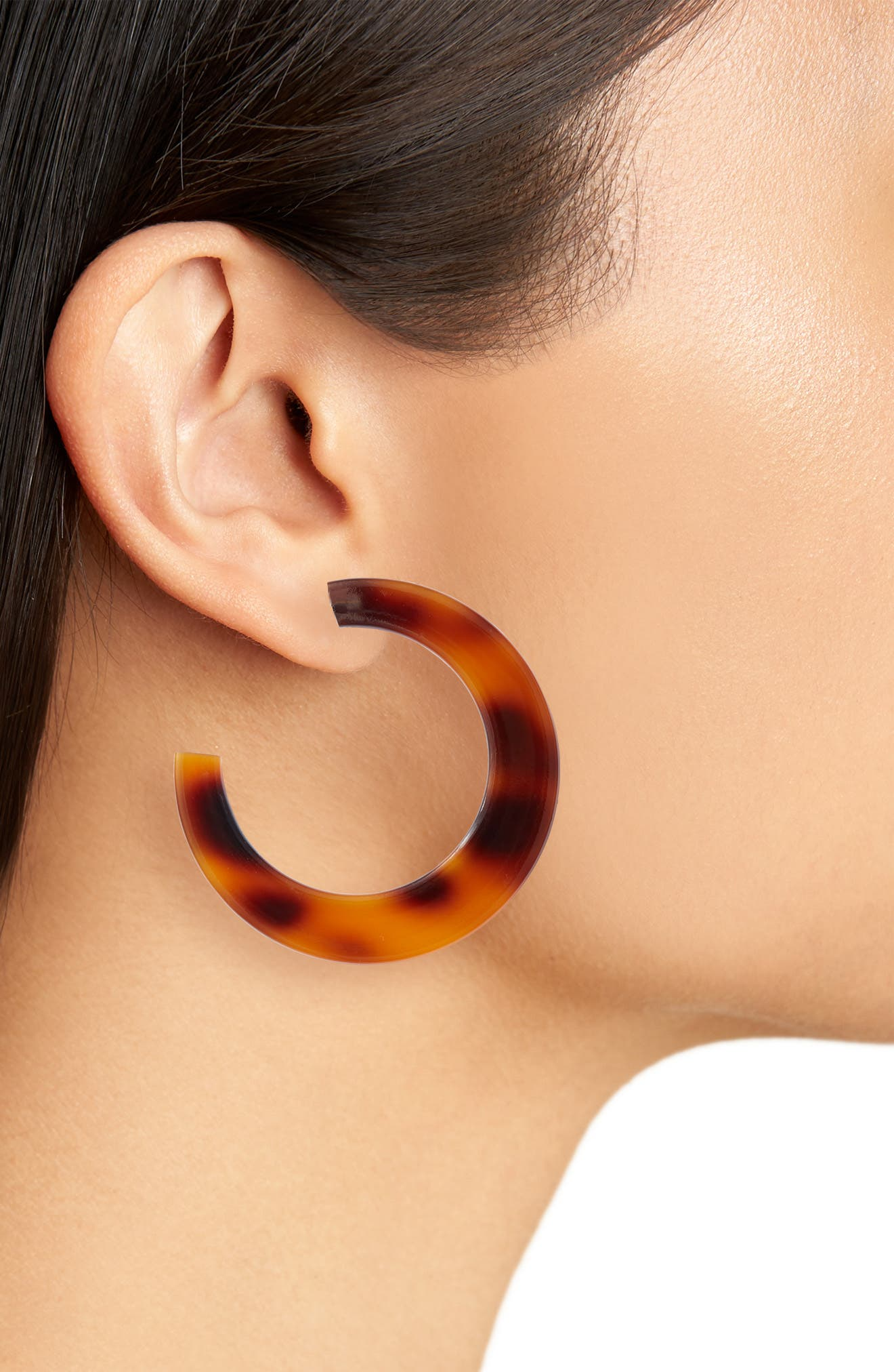 Resin Hoop Earrings,                             Alternate thumbnail 2, color,                             Natural