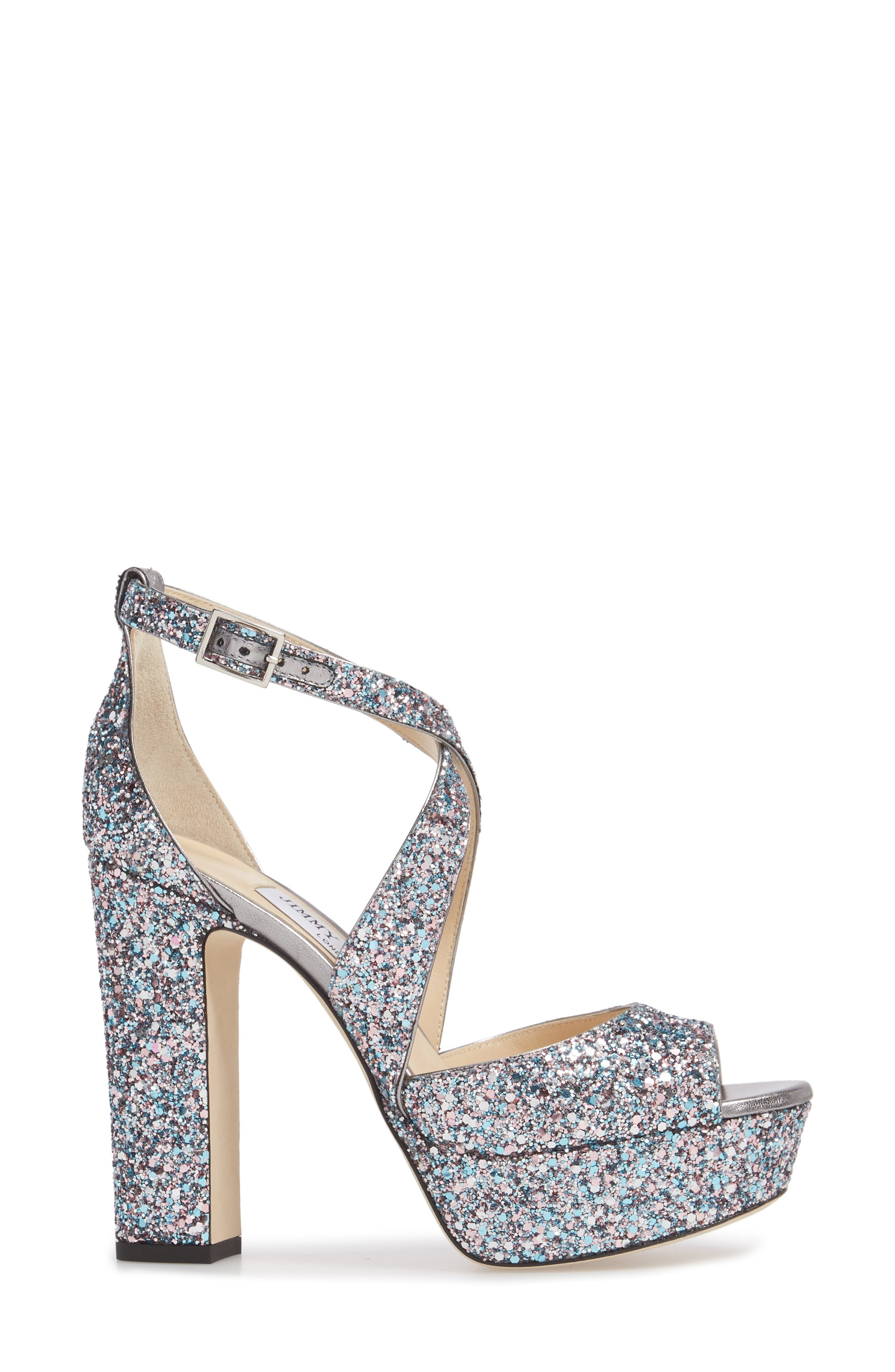 April Glitter Platform Sandal,                             Alternate thumbnail 3, color,                             Bubblegum
