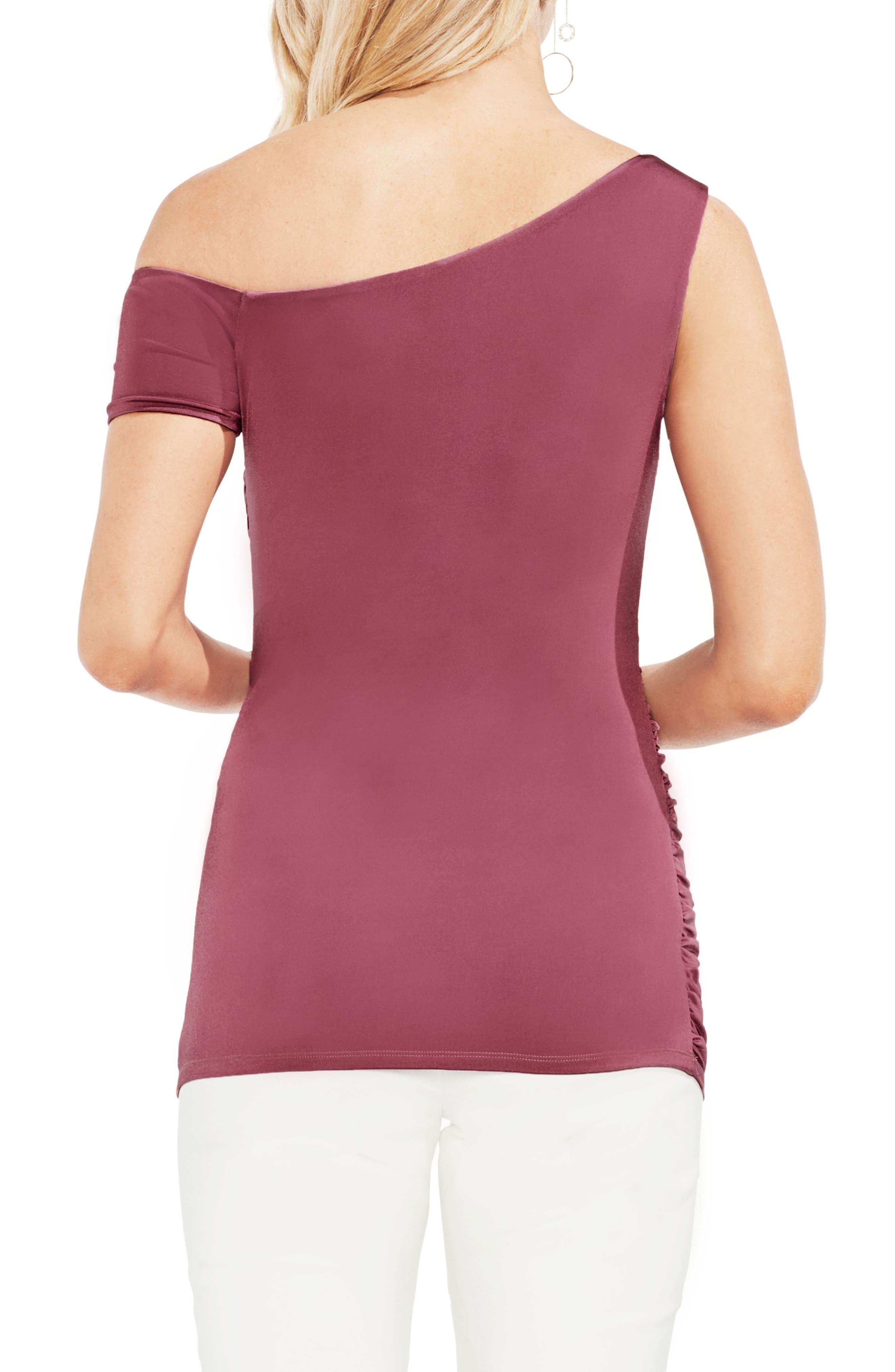 One-Shoulder Ruched Liquid Knit Top,                             Alternate thumbnail 2, color,                             803-Summer Rose