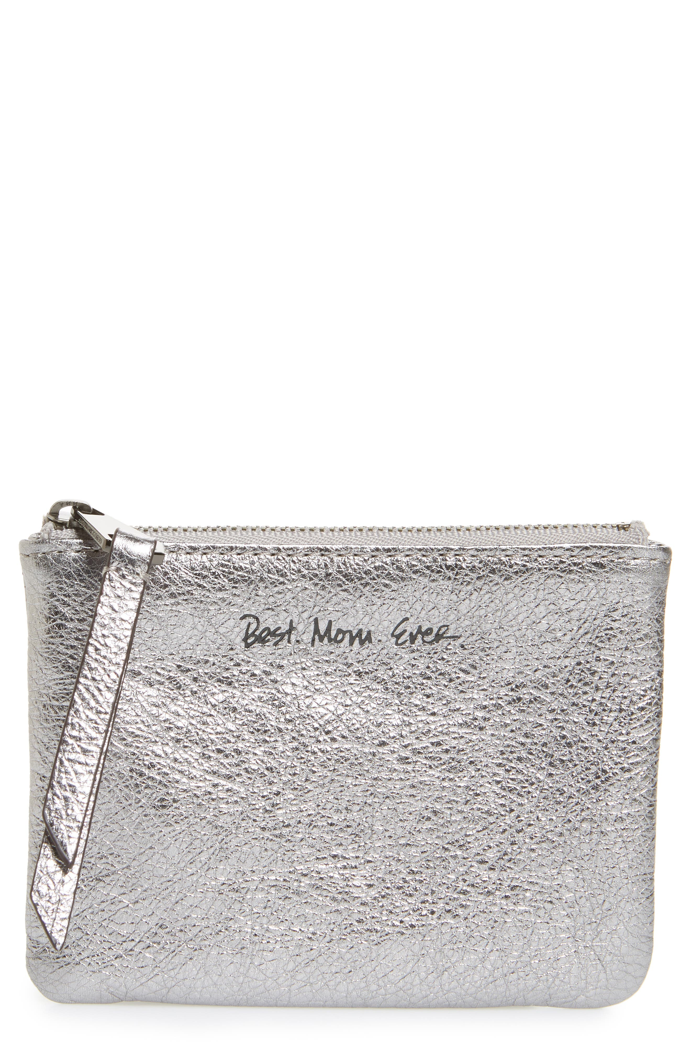Betty - Best Mom Ever Leather Pouch,                             Main thumbnail 1, color,                             Anthracite