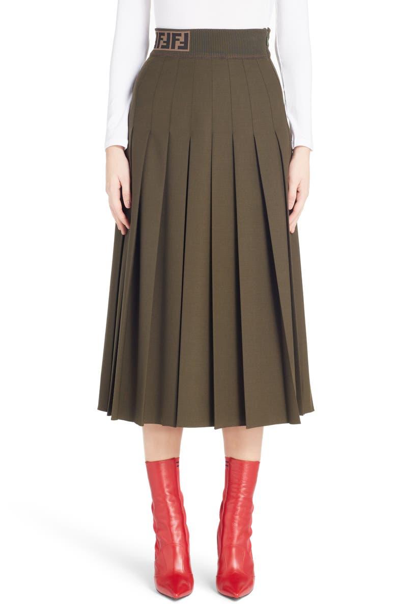 Logo Band Pleated Skirt