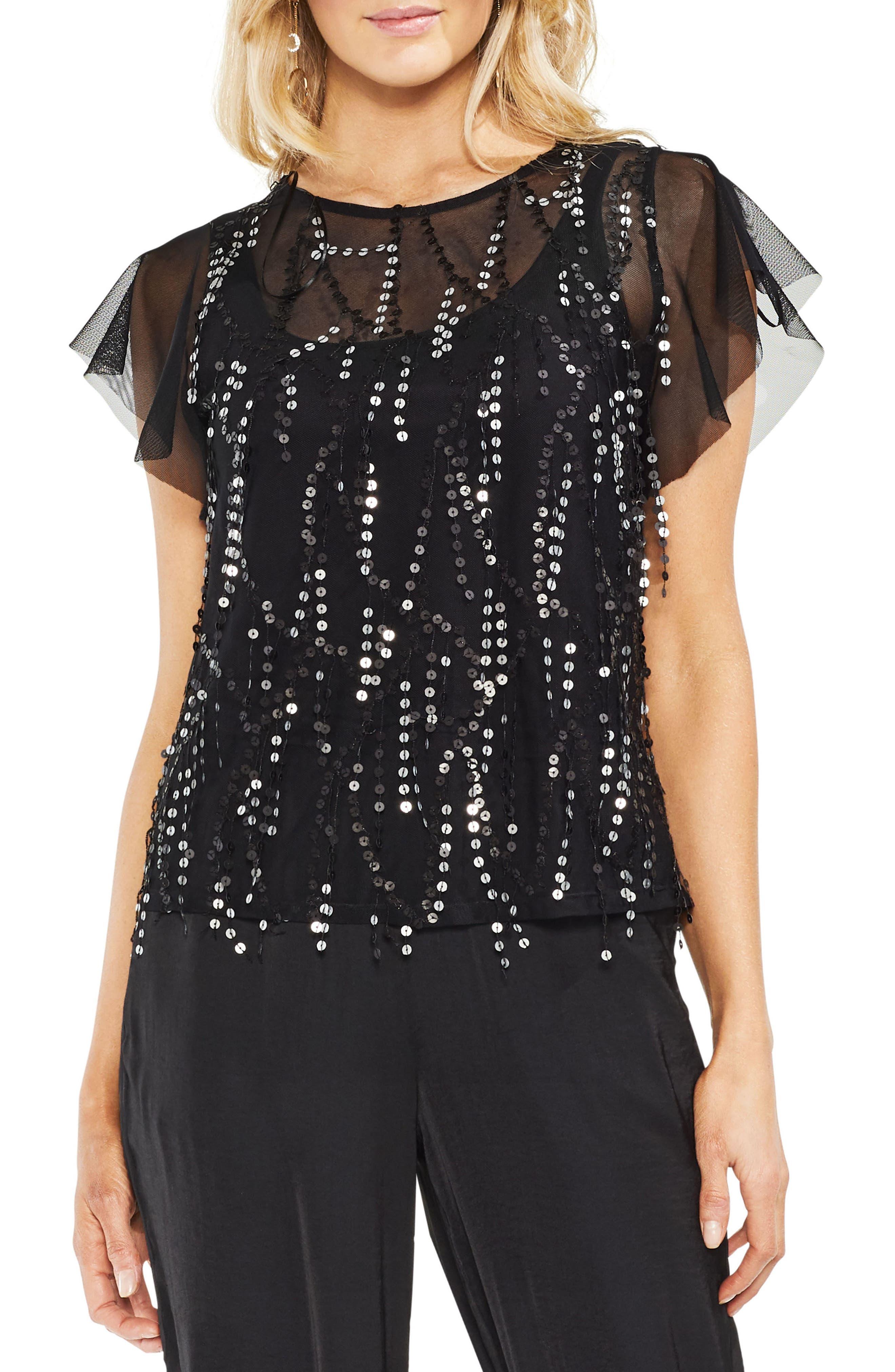 Flutter Sleeve Sequin Mesh Blouse,                         Main,                         color, 060-Rich Black
